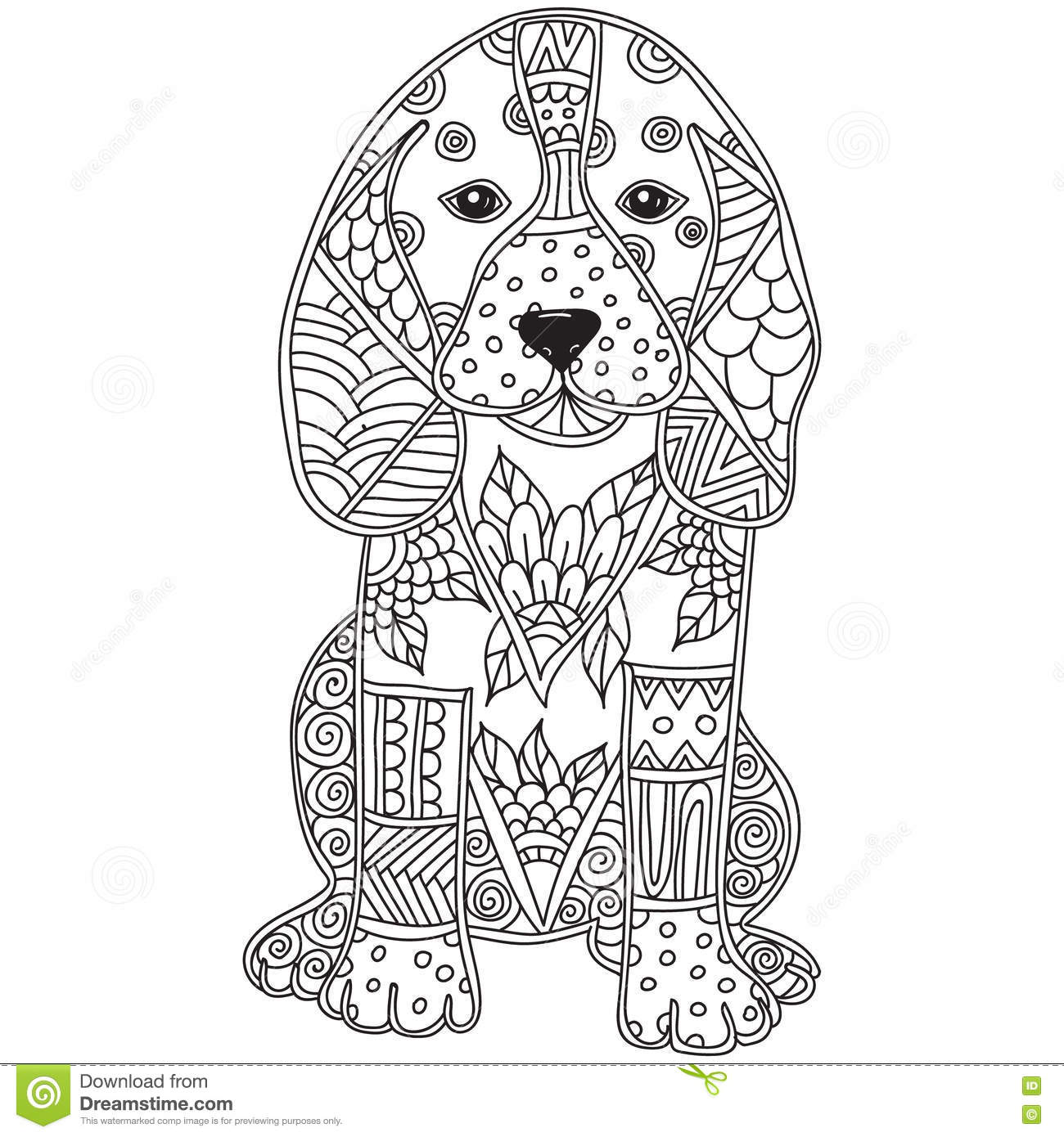 Dog Adult Antistress Or Children Coloring Page Stock Vector