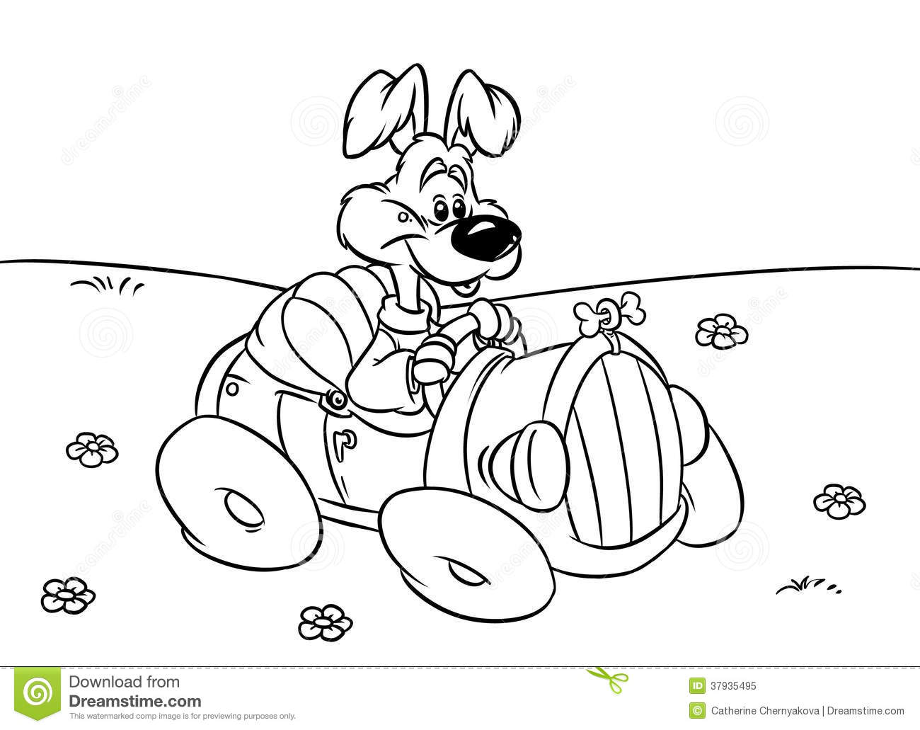 Dog Car Driver Illustration Coloring Pages Royalty Free