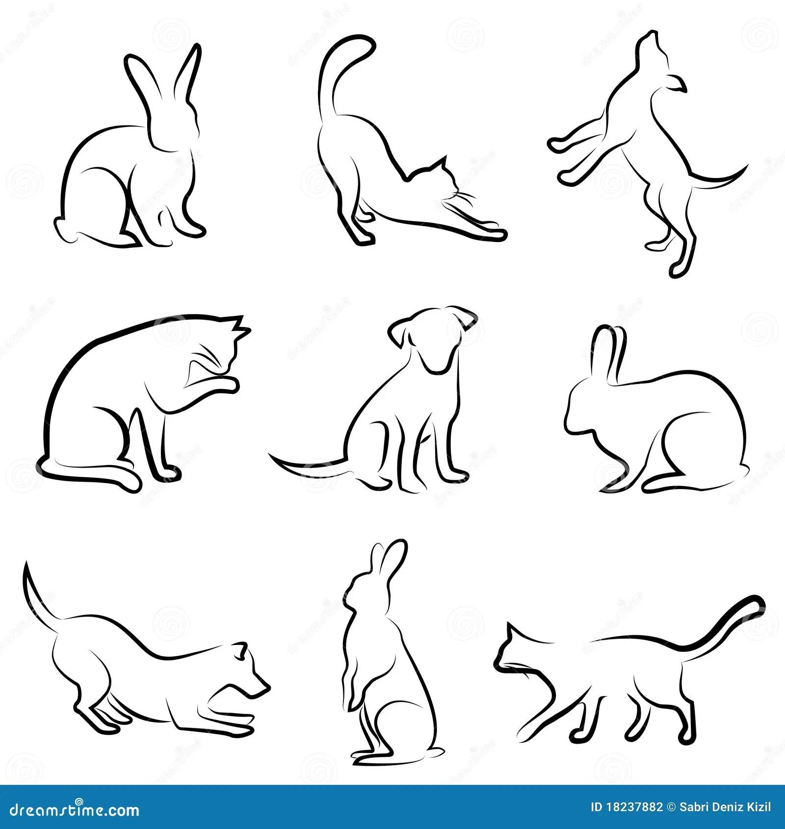 Dog Cat Rabbit Animal Drawing Stock Photography