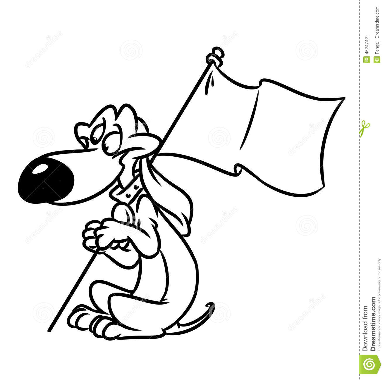 Dog Dachshund Flag Cartoon Illustration Stock Illustration