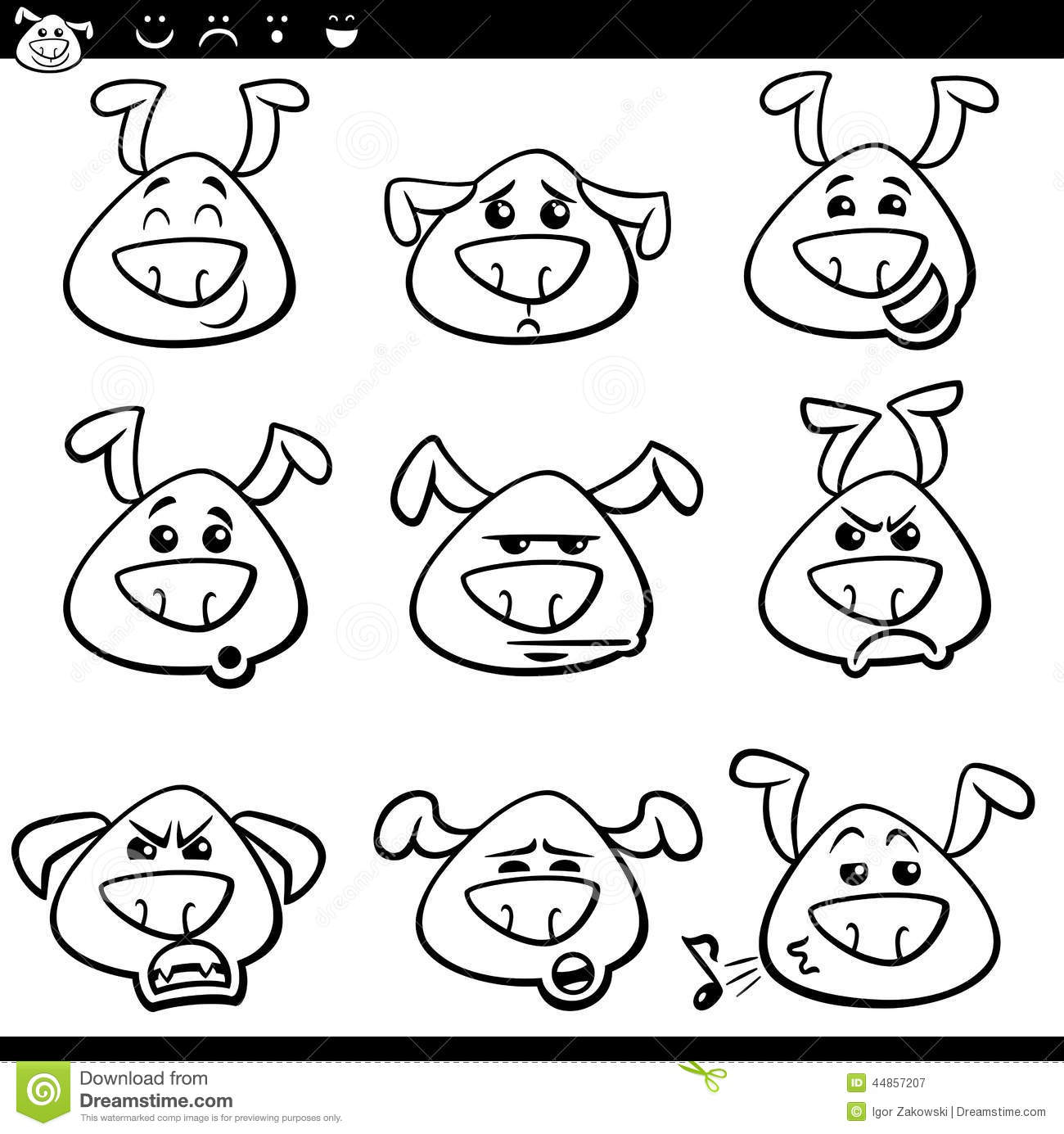 Dog Emoticons Cartoon Coloring Page Stock Vector