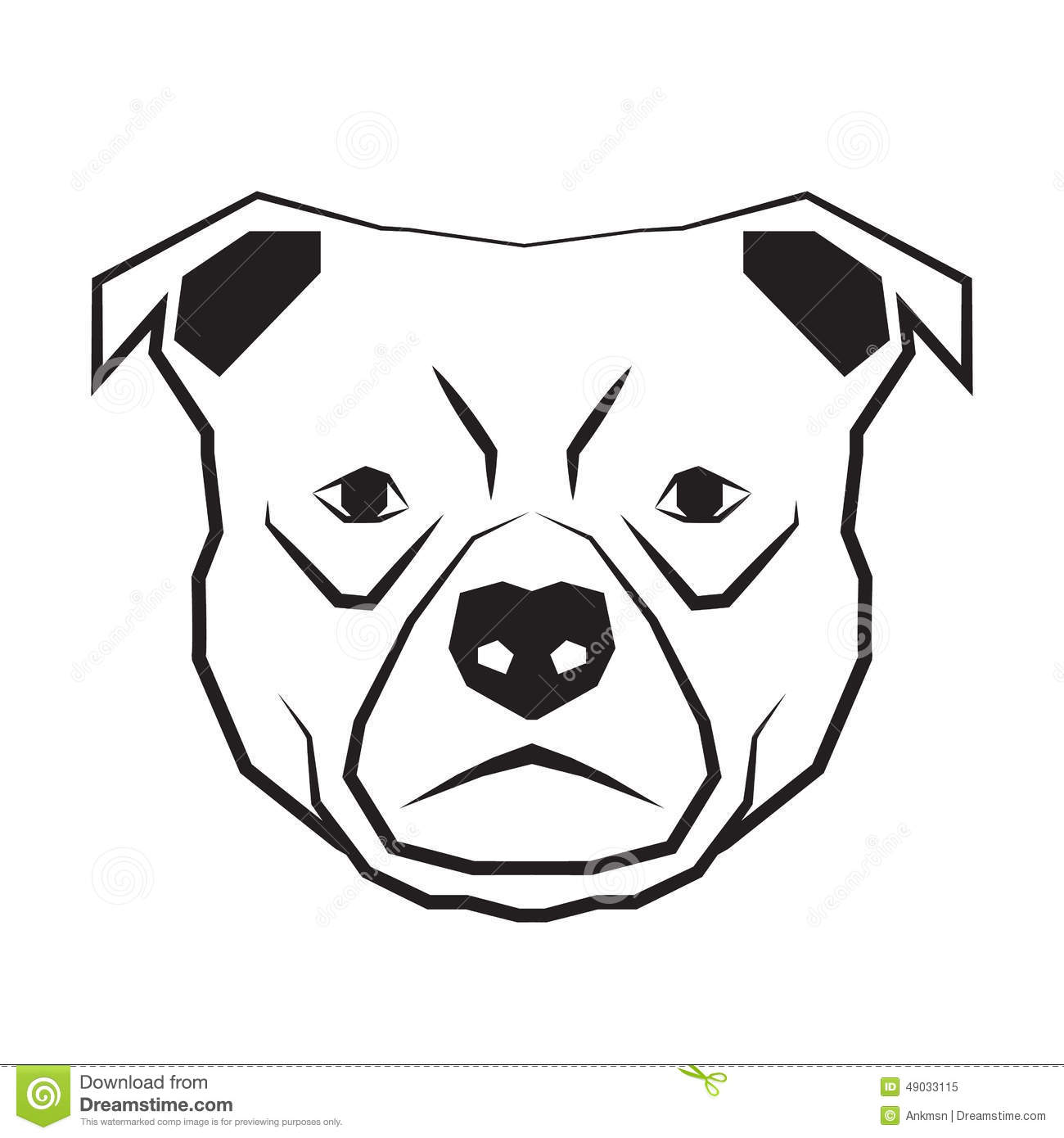 Dog Face Black And White Drawing Contour Stock Vector