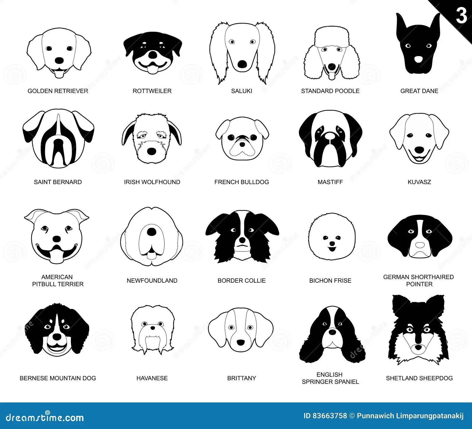 Dog Faces Stroke Monochrome Icon Cartoon 3 Stock Vector