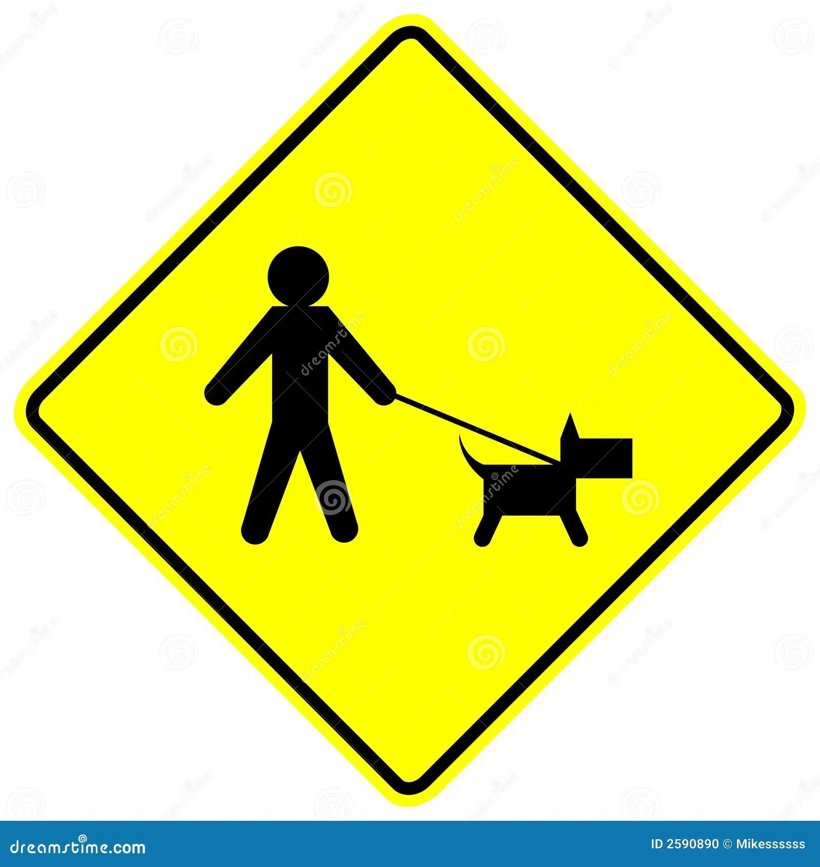 Dog Walk Yellow Vector Sign Stock Photo