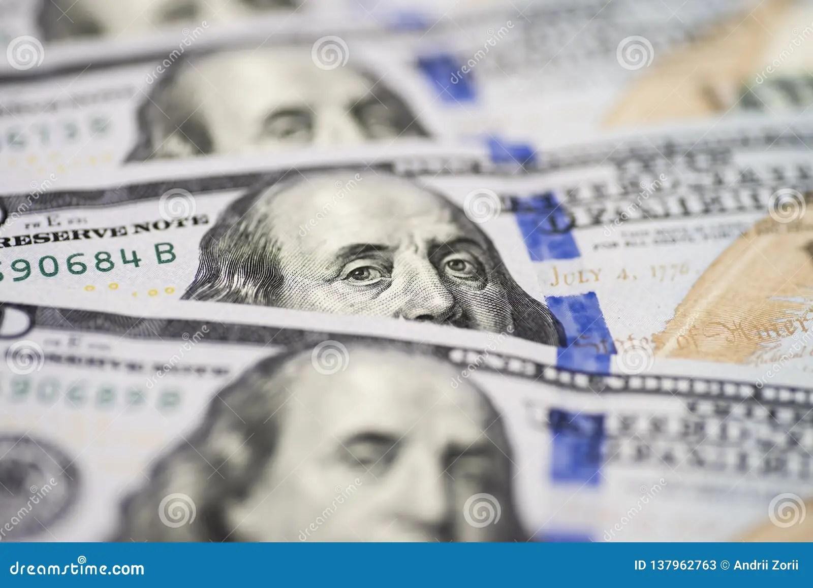 Dolar Usa Close Up Benjamin Franklin S Eyes From A
