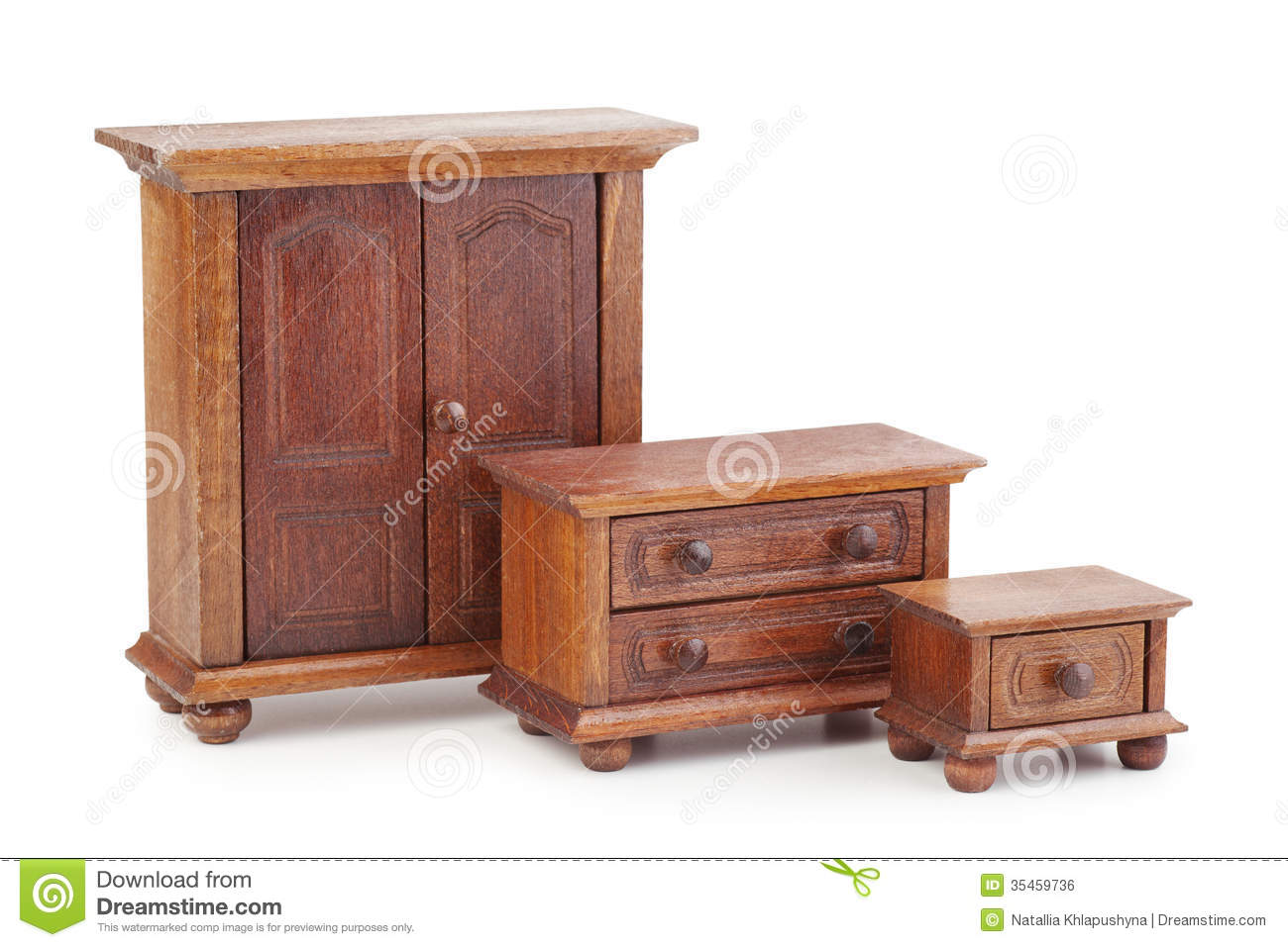 Doll Wooden Furniture Set Wardrobe Chest Of Drawers And