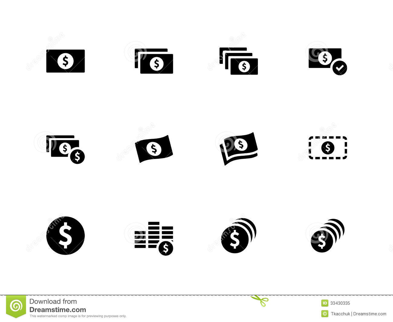 Dollar Banknote Icons On White Background Stock Vector