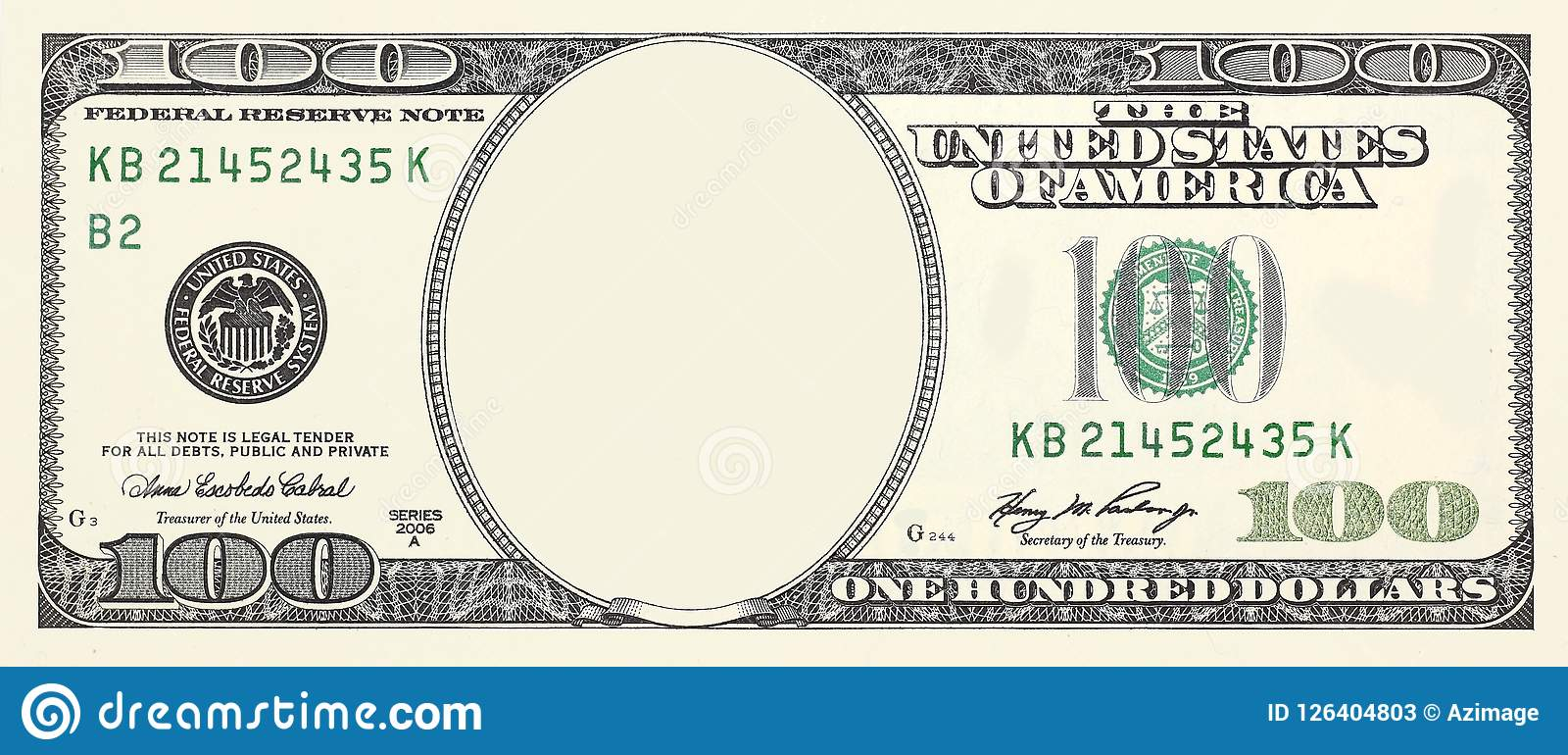 100 Dollar Bill Front With No Face Frame For Design