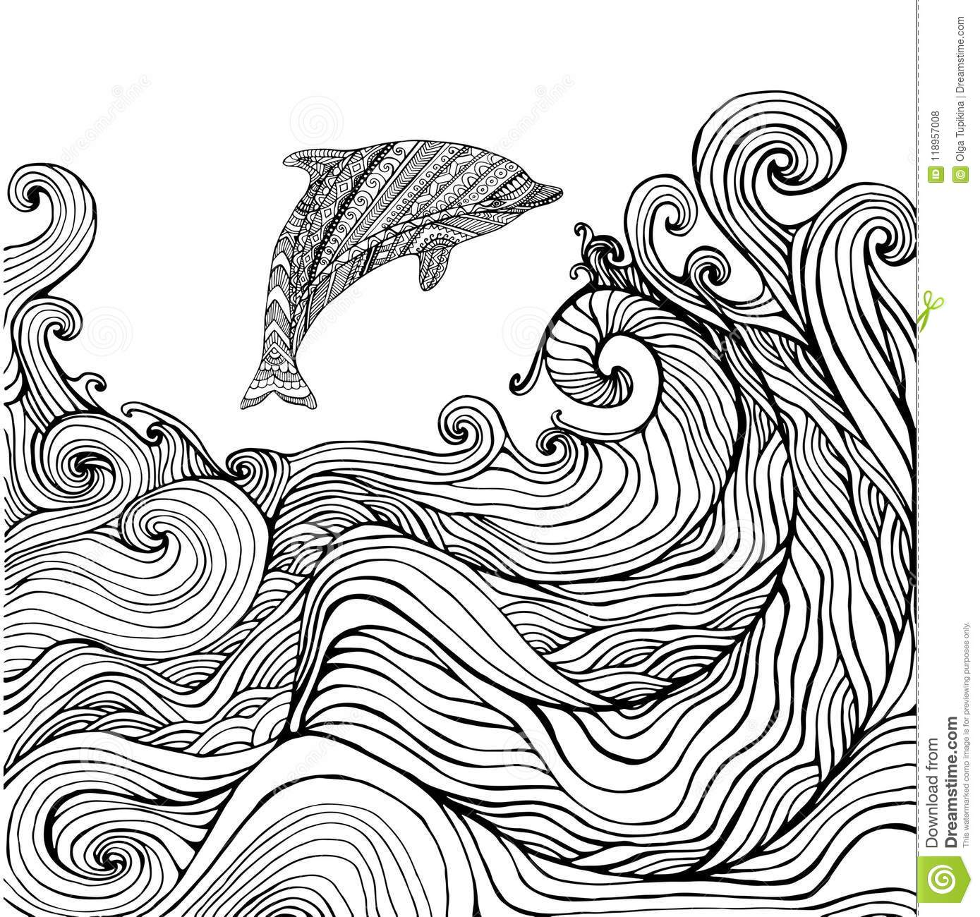 Dolphin And Ocean Waves Coloring Page For Children And