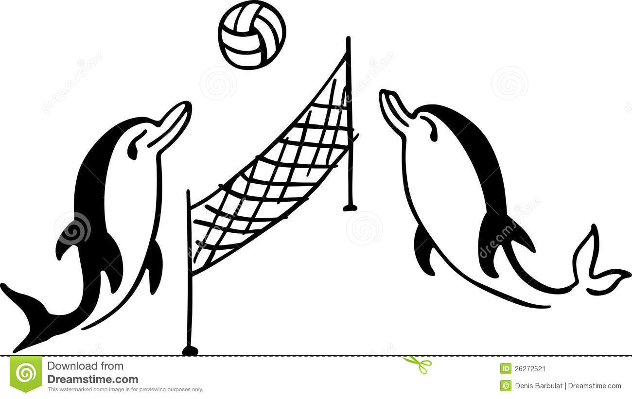 Dolphins Play Volleyball Stock Image