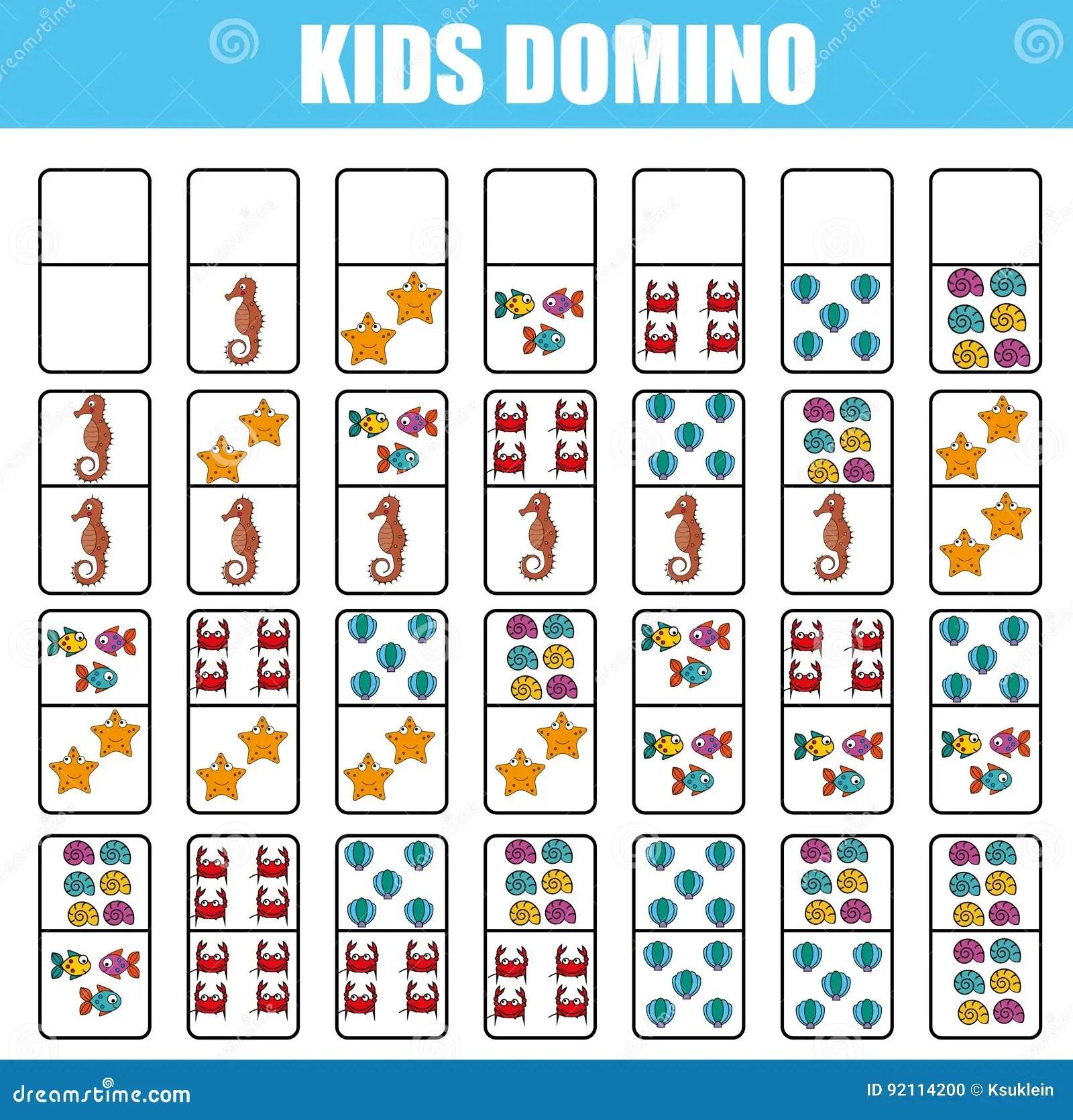 Domino Para Los Ninos Juego Educativo De Los Ninos Actividad Imprimible Juego De Mesa