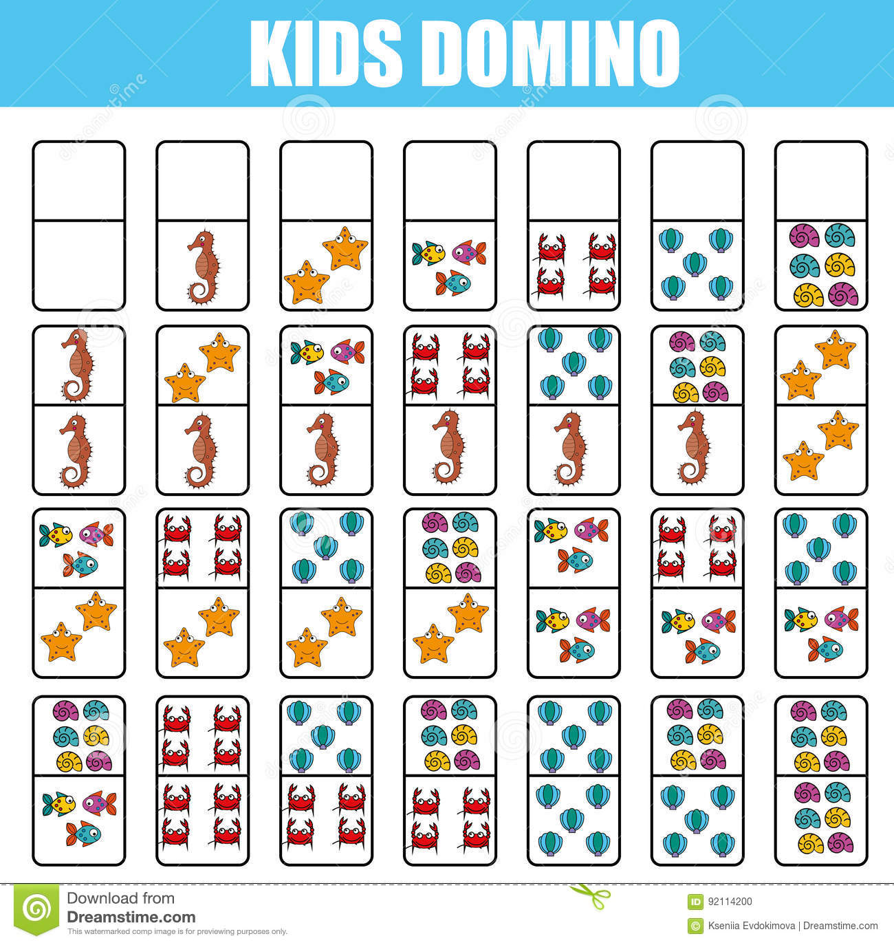 Domino For Kids Children Educational Game Printable