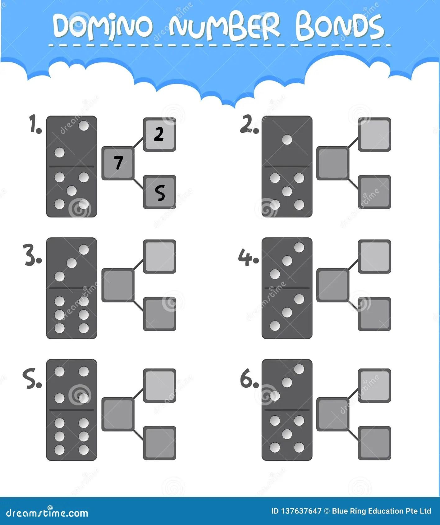 Domino Number Bonds Worksheet Stock Vector