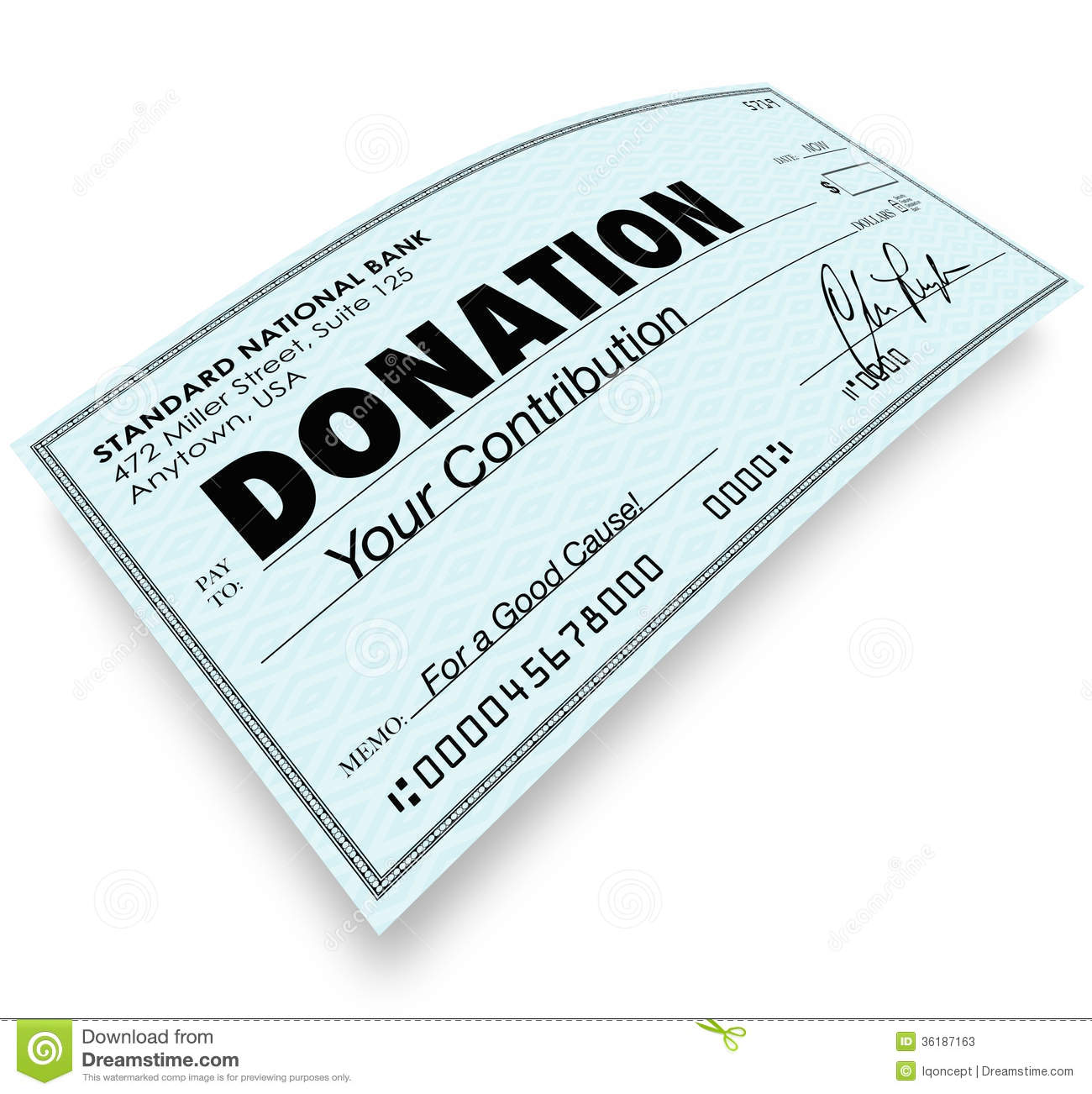 Donation Check Word Money T Contribution Stock