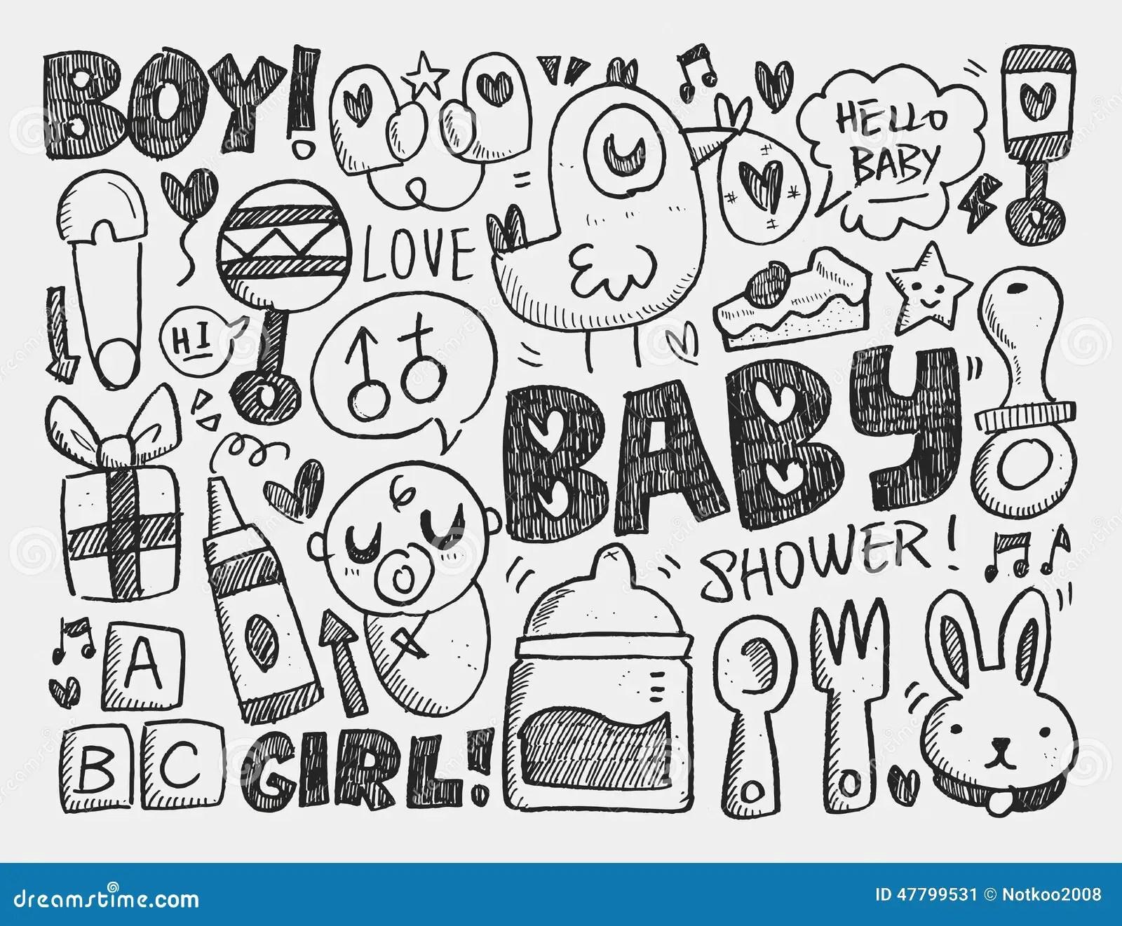 Doodle Baby Background Cartoon Vector