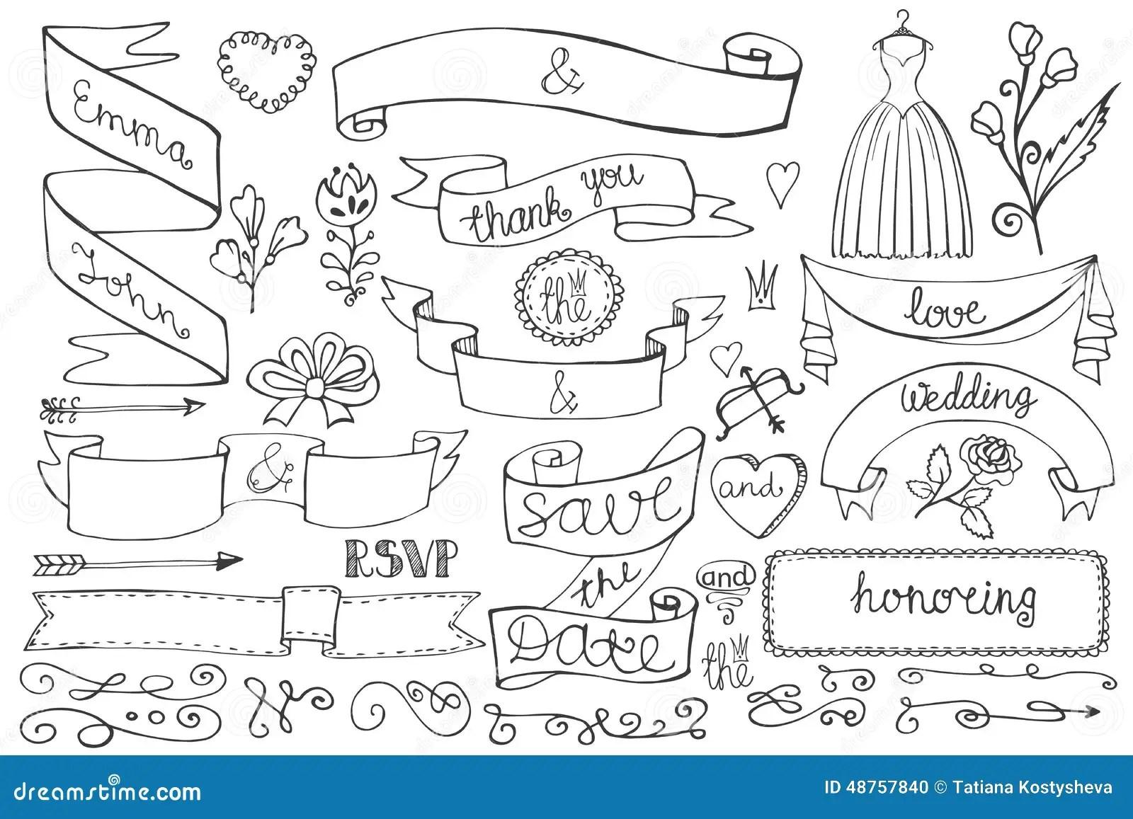 Doodle Bridal Shower Ribbons Border Decor Elements Stock