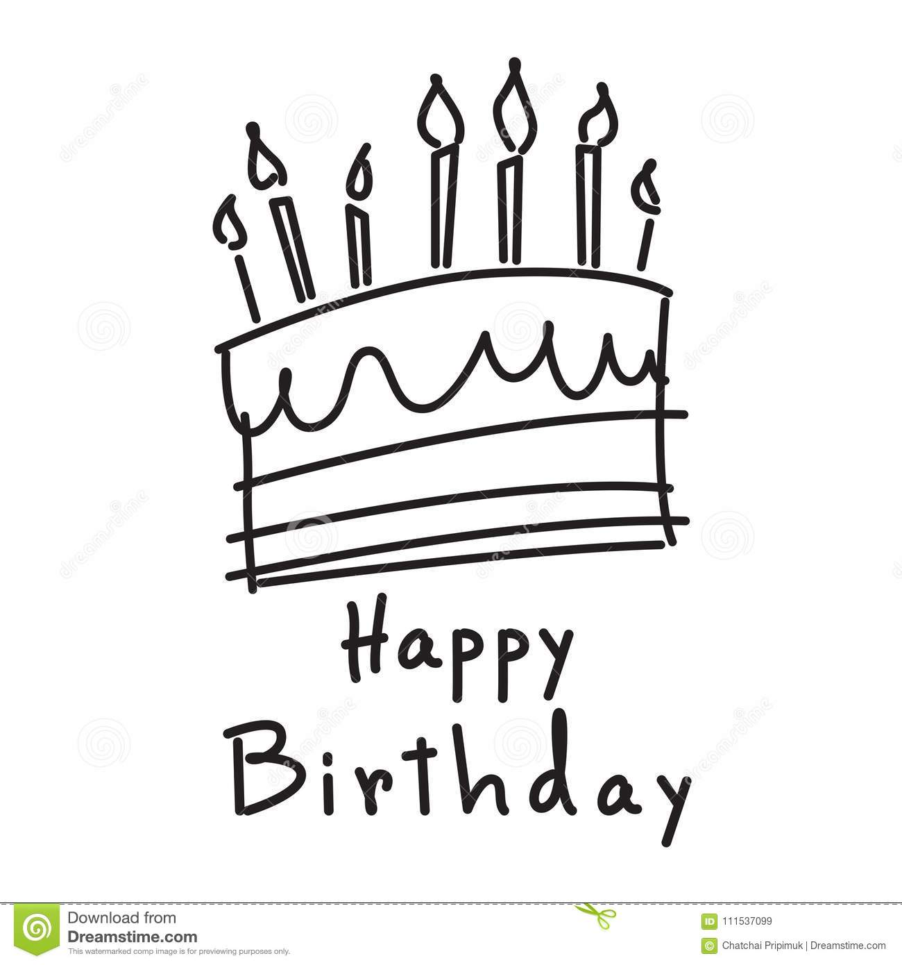 Doodle Cake And Happy Birthday Vector Stock Vector