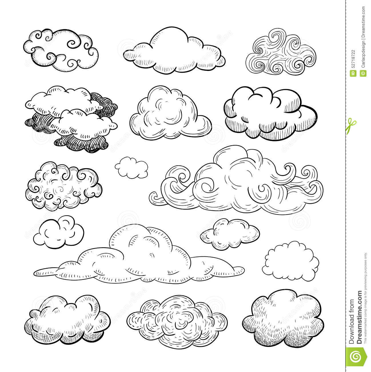 Doodle Collection Of Hand Drawn Vector Clouds Stock