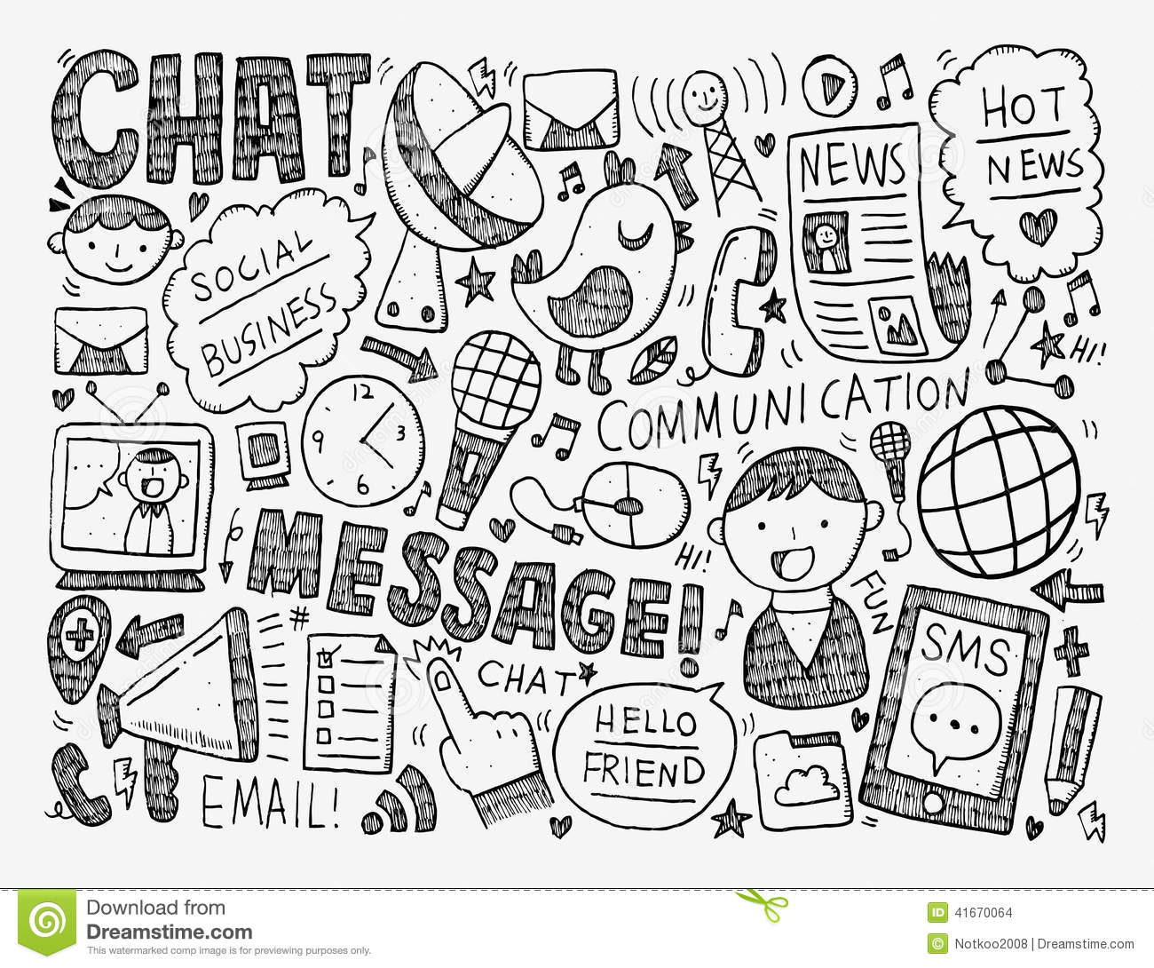 Doodle Communication Background Stock Vector