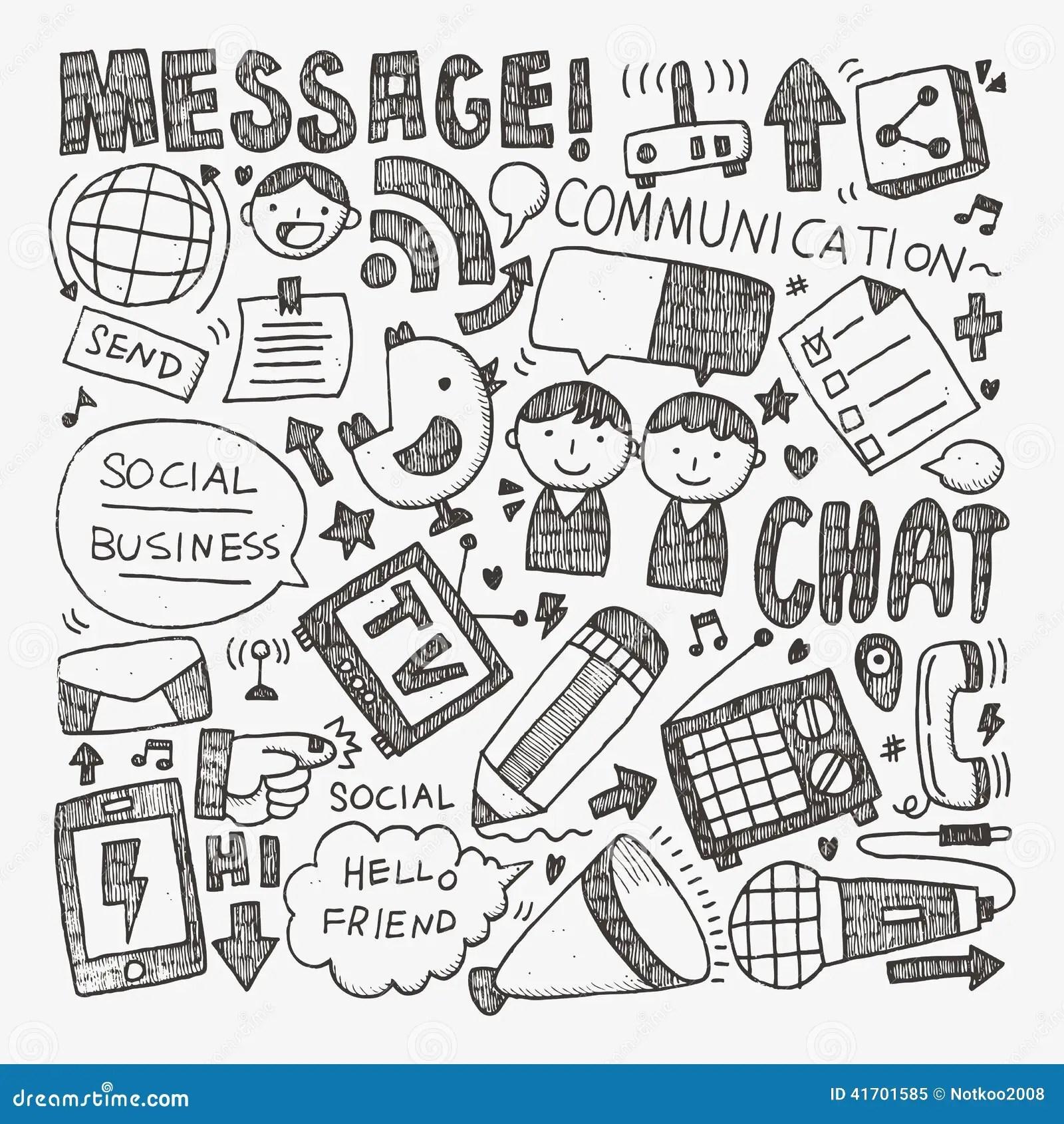 Doodle Communication Background Vector Illustration