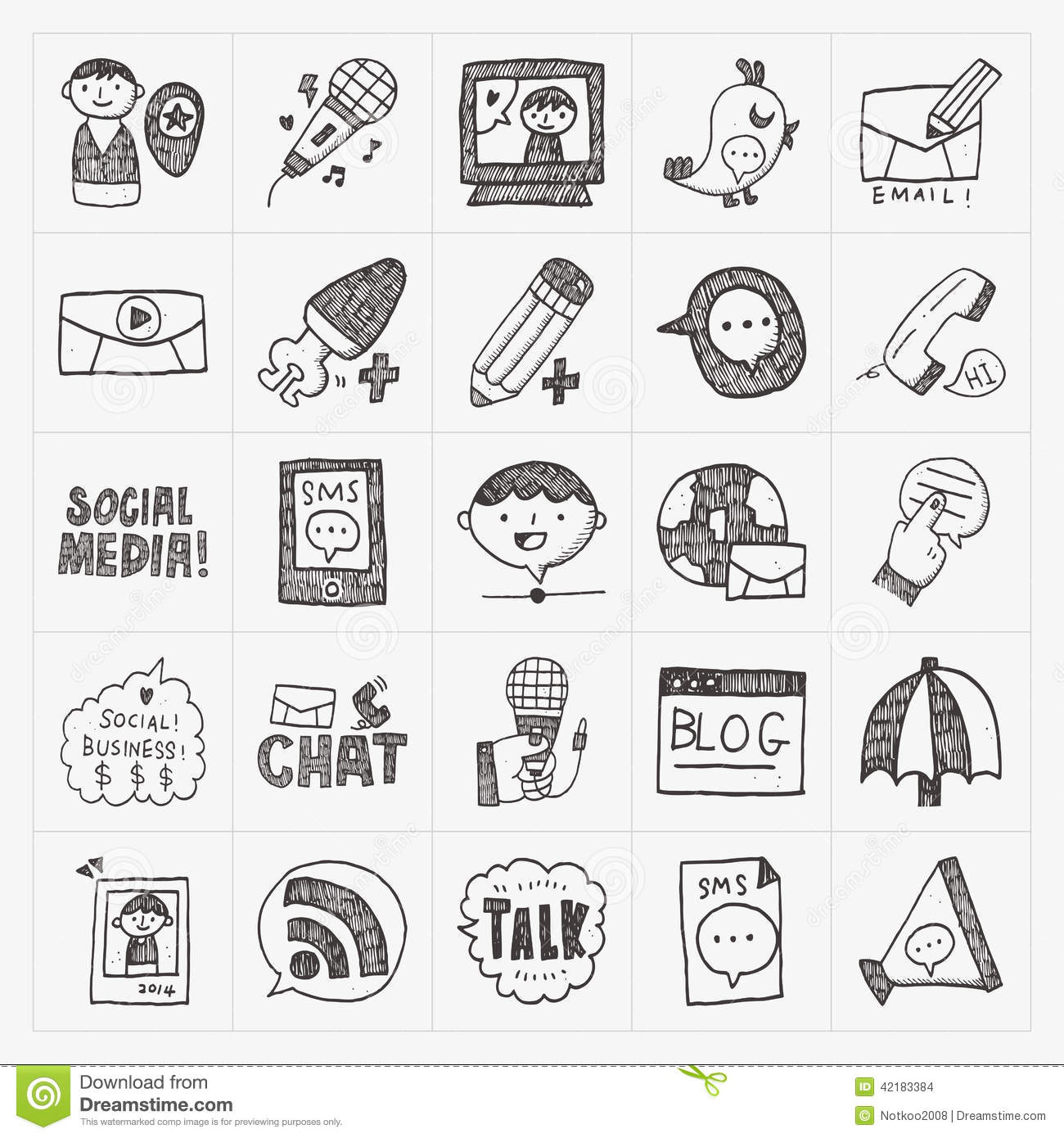 Doodle Communication Icons Set Stock Vector
