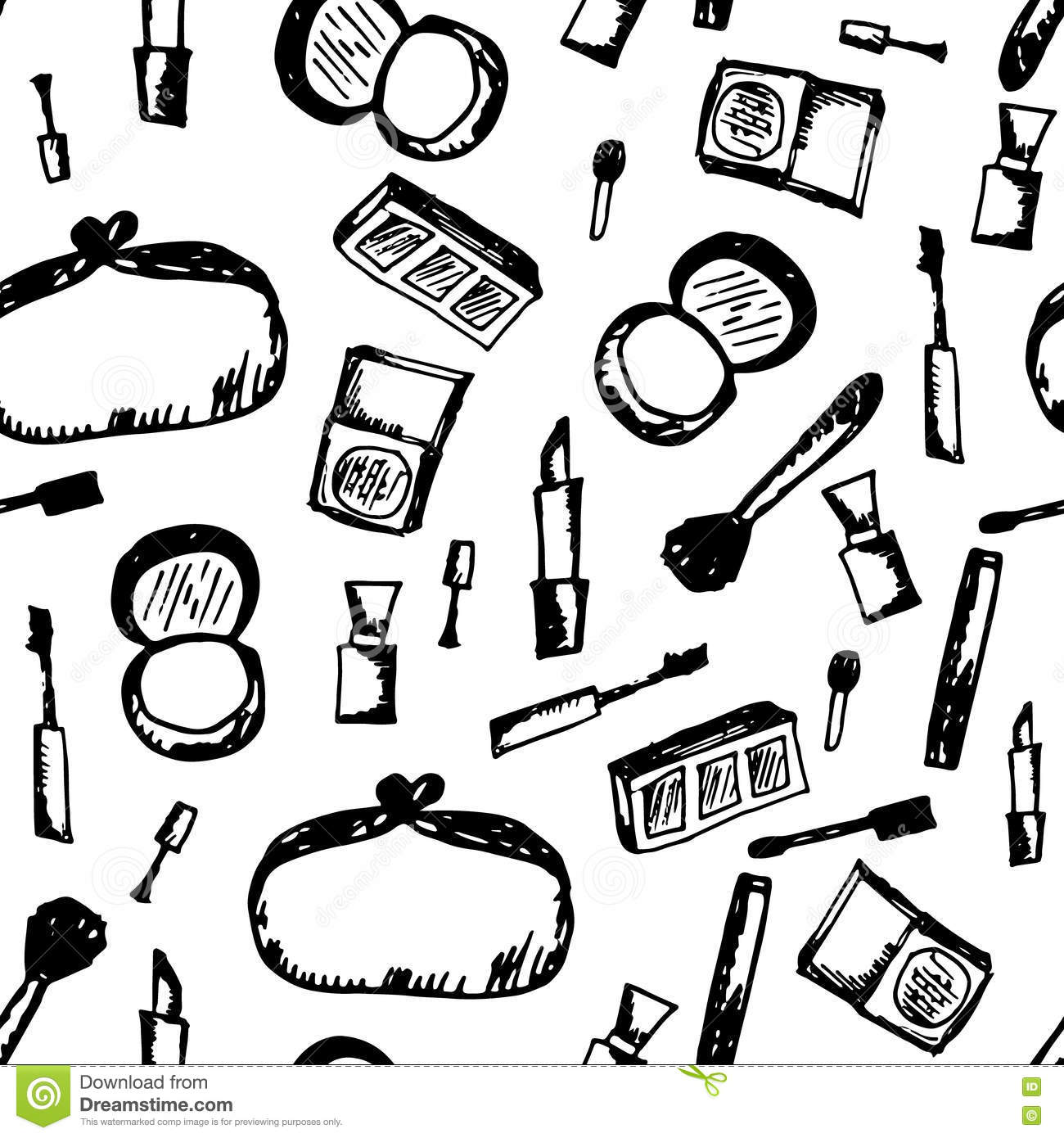 Doodle Cosmetic Black And White Pattern Fashion