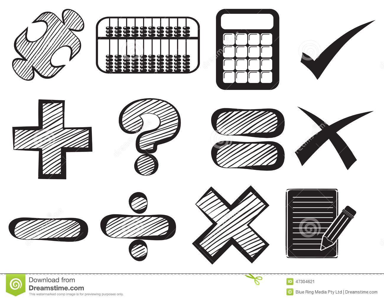 Doodle Design Of The Different Math Operations Stock