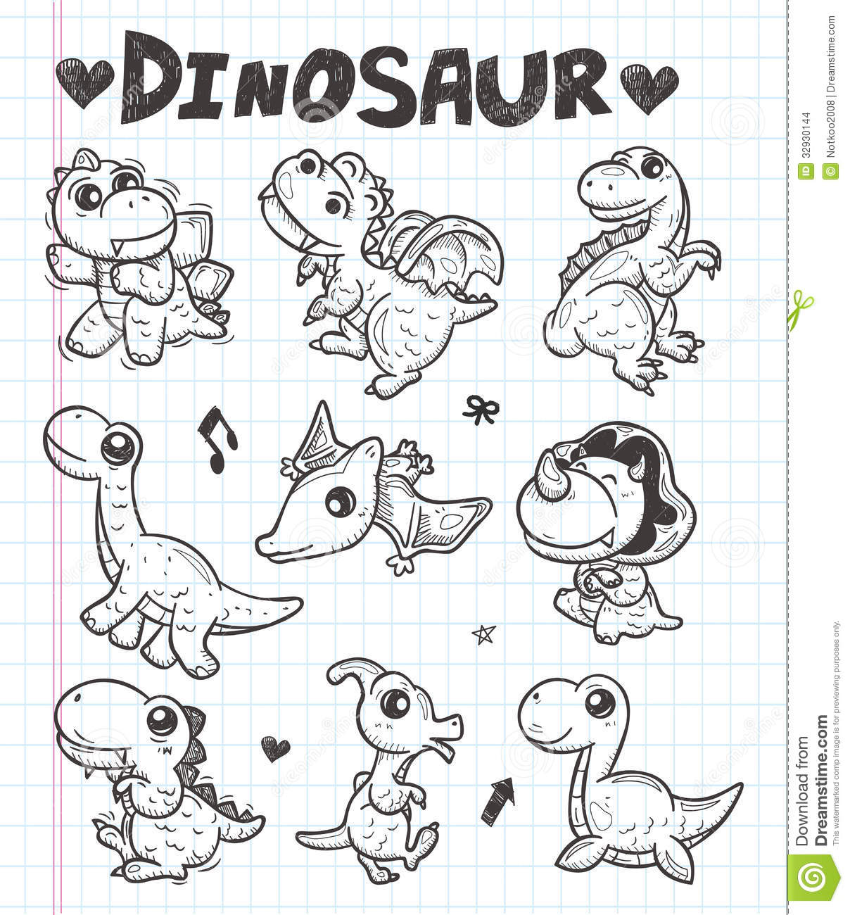 Doodle Dinosaur Icons Stock Vector Illustration Of