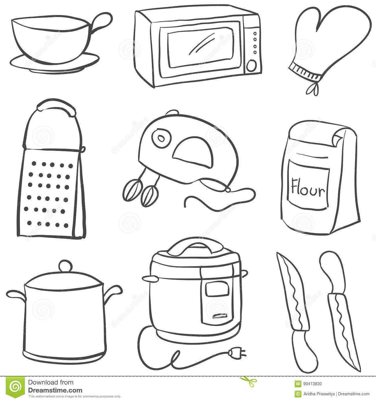 Doodle Of Equipment Kitchen Object Stock Vector