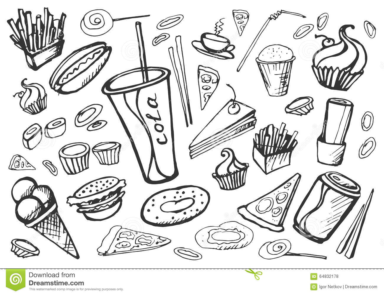 Doodle Fast Food Stock Vector Illustration Of Ketchup