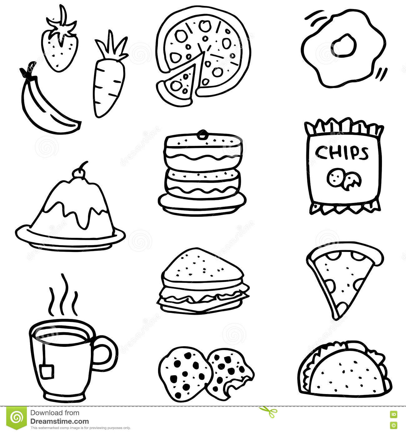 Doodle Of Food And Drink Hand Draw Stock Vector