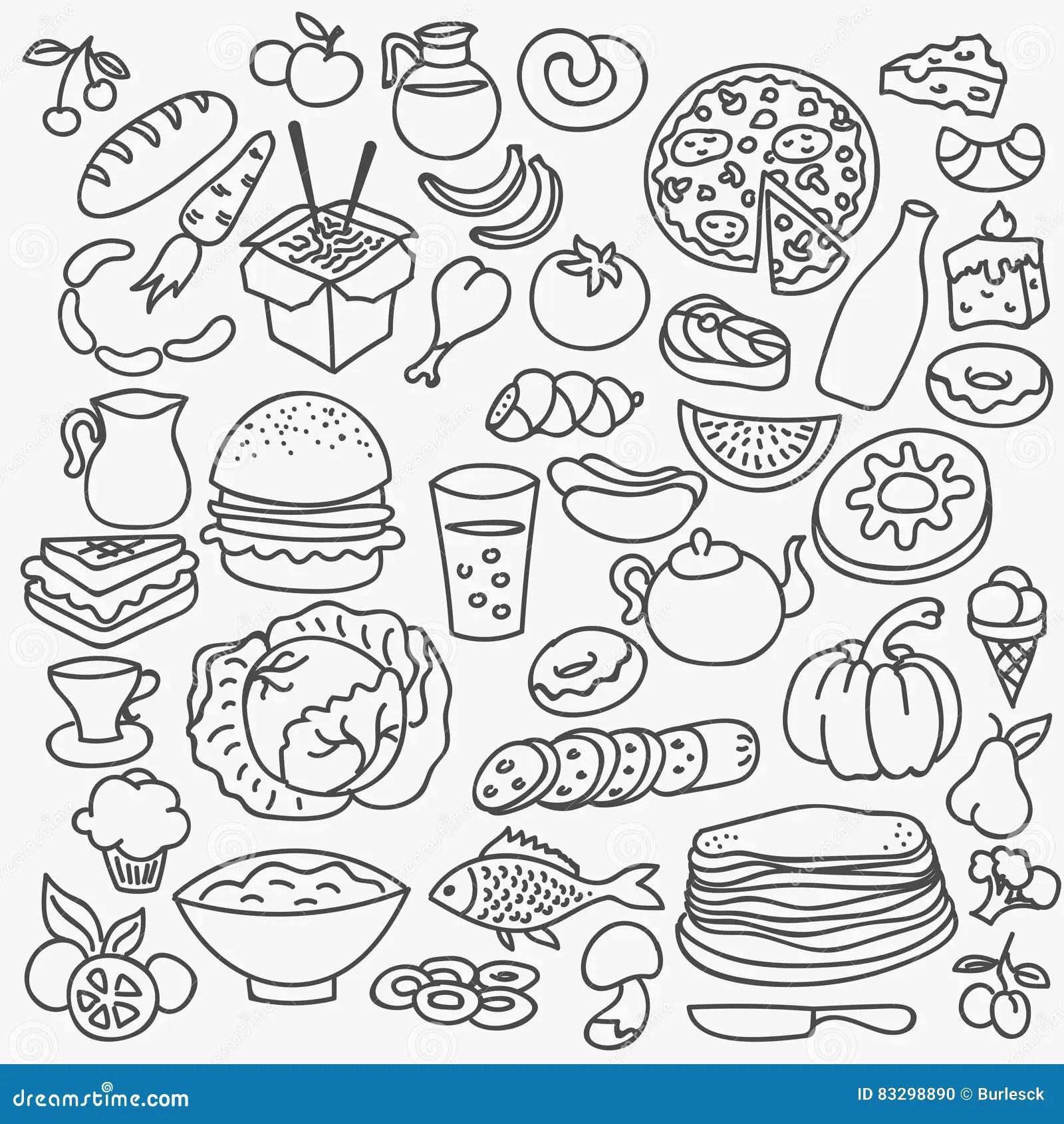 Vector Cartoon Hand Drawn Pizza Icons Cartoon Vector