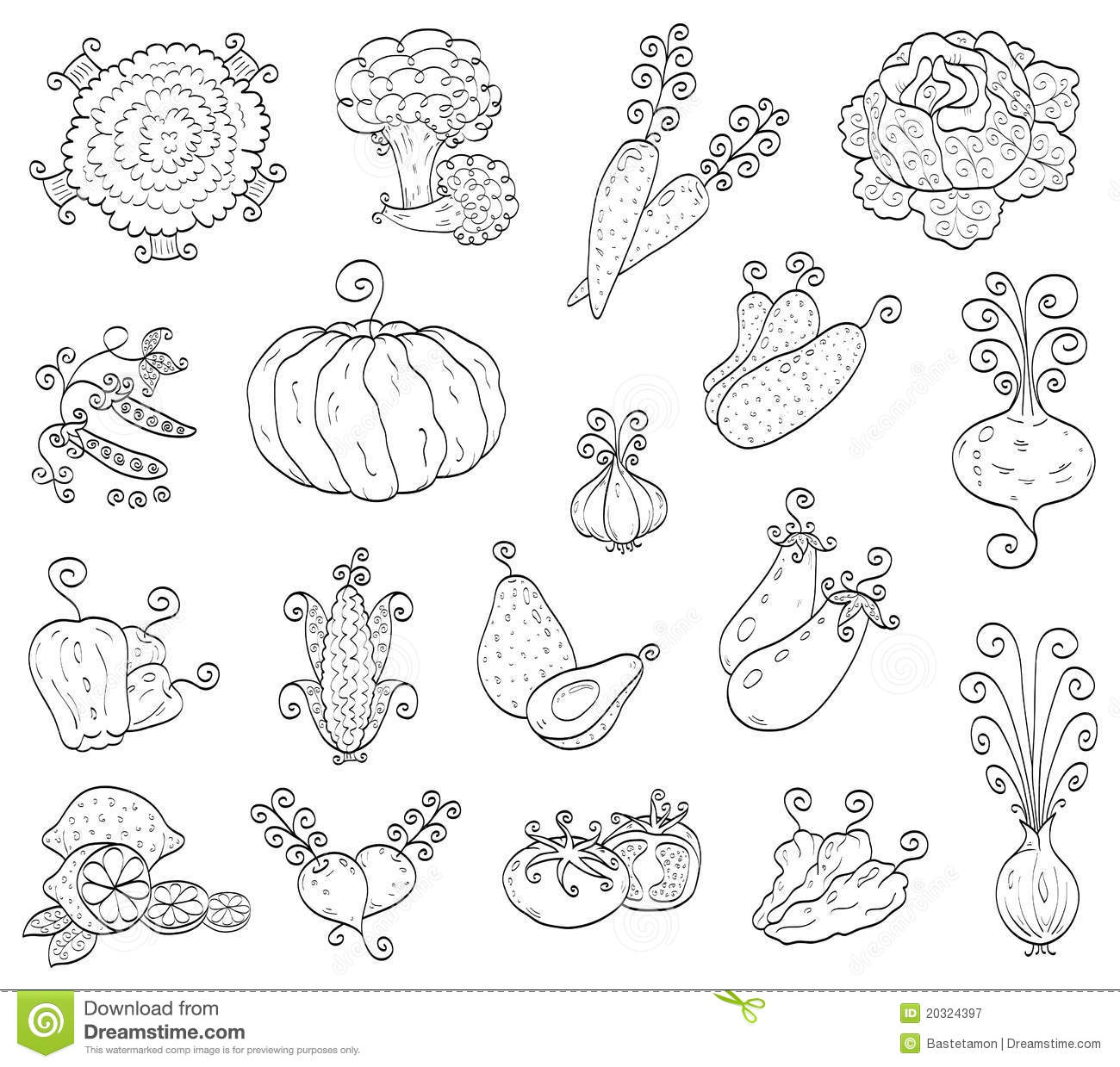 Doodle Fruits Vegetables Royalty Free Stock Photography