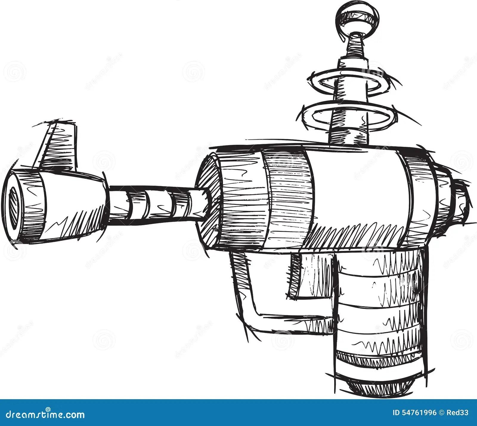 Doodle Gun Vector Stock Vector Illustration Of Technology