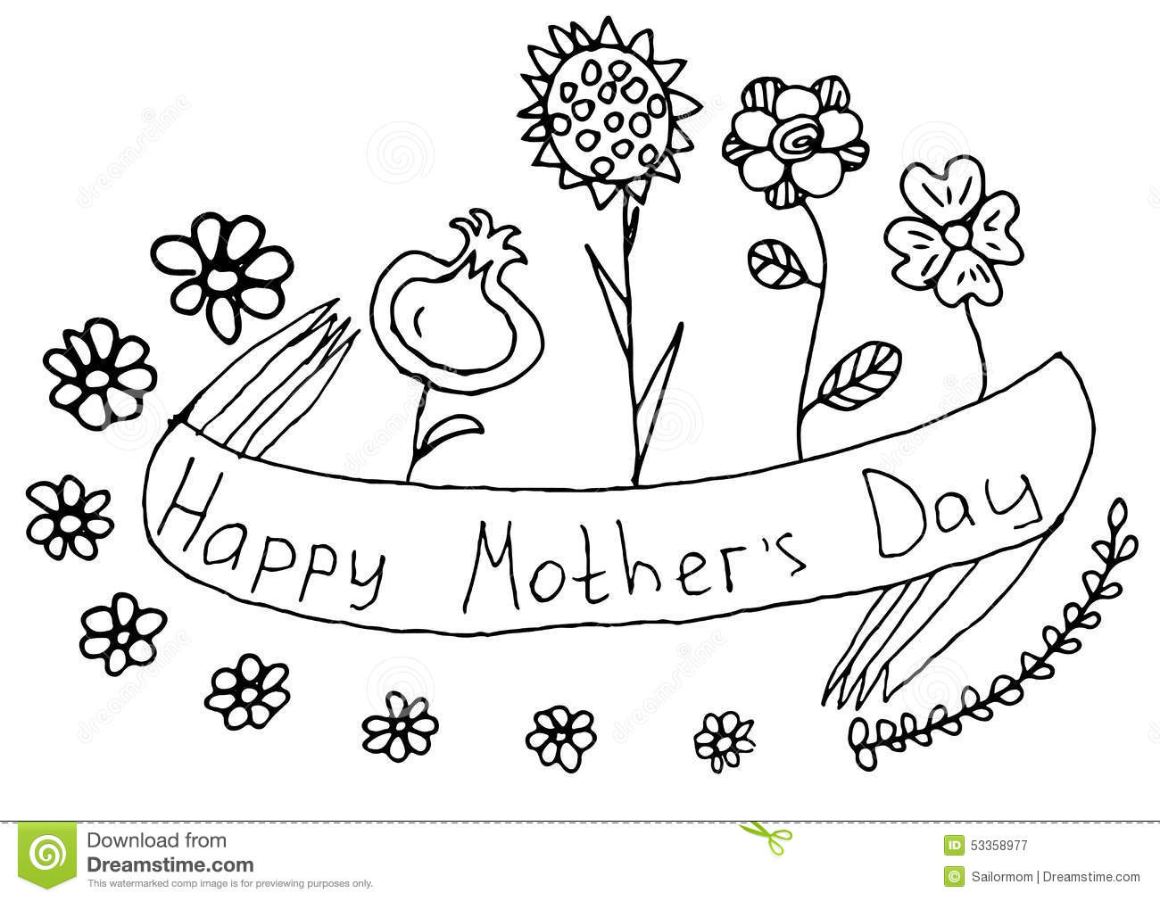 Doodle Happy Mothers Day Black Floral Greeting Stock