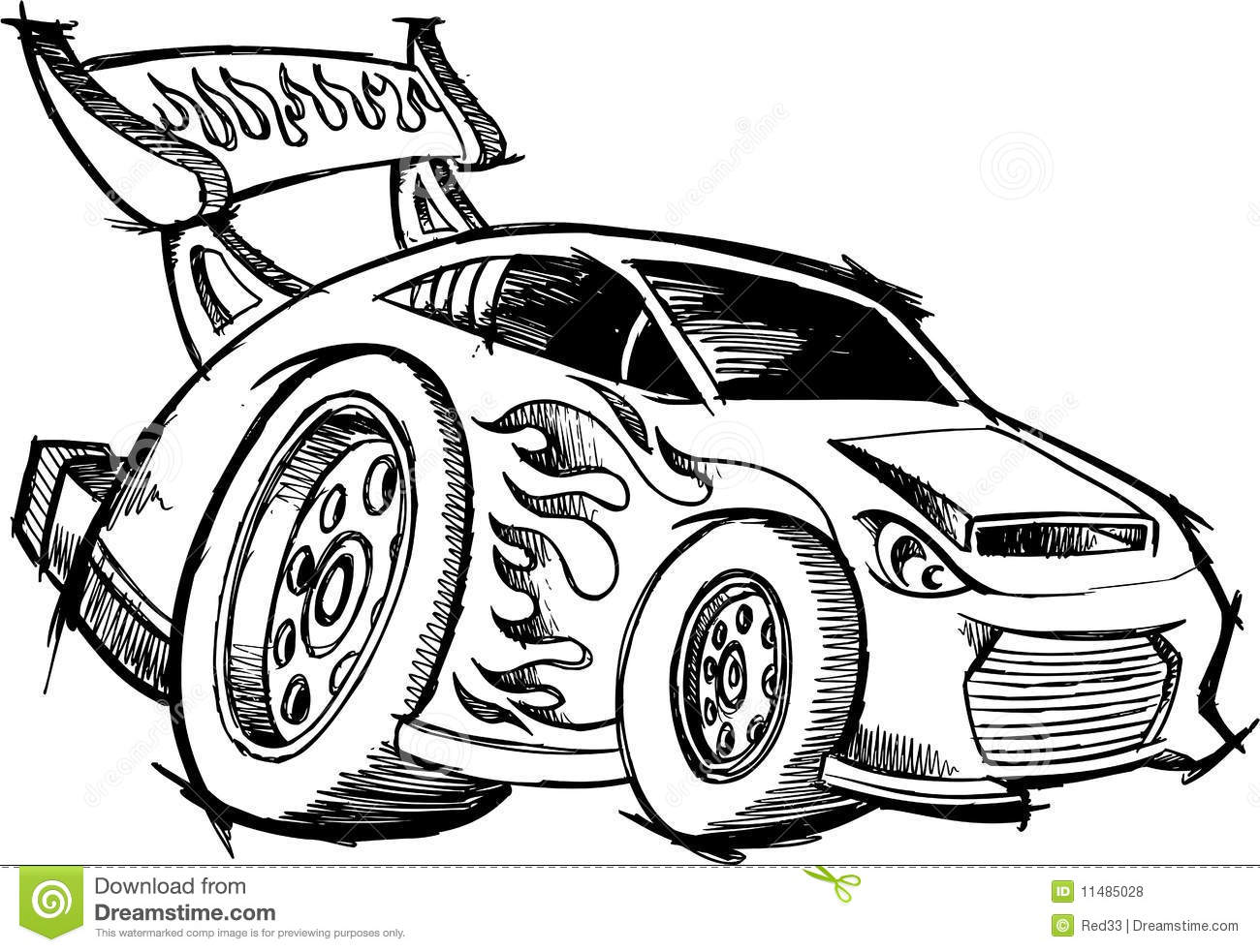 Doodle Hot Rod Race Car Stock Vector Illustration Of