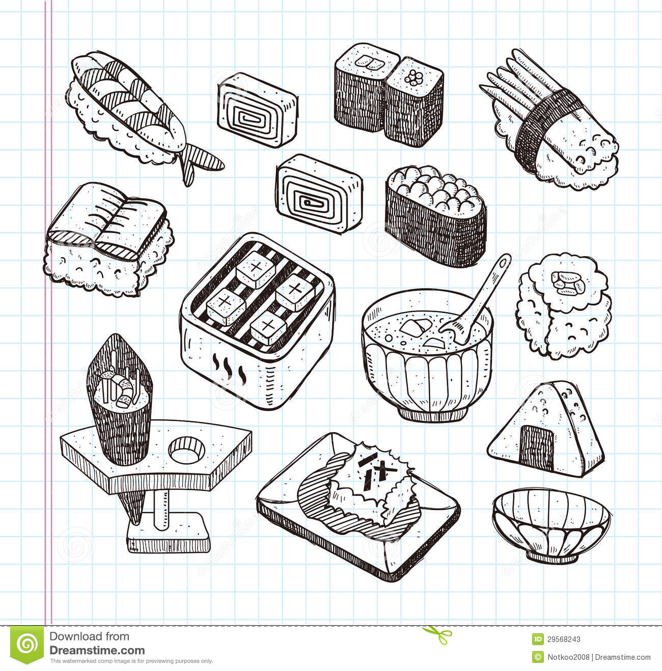 Doodle Japanese Food Icon Set Stock Vector Illustration