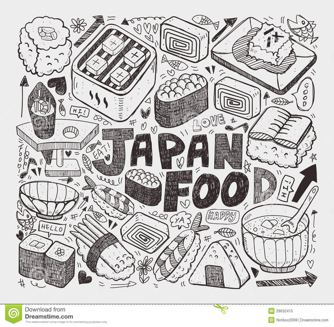 Doodle Japanese Sushi Element Royalty Free Stock Photo