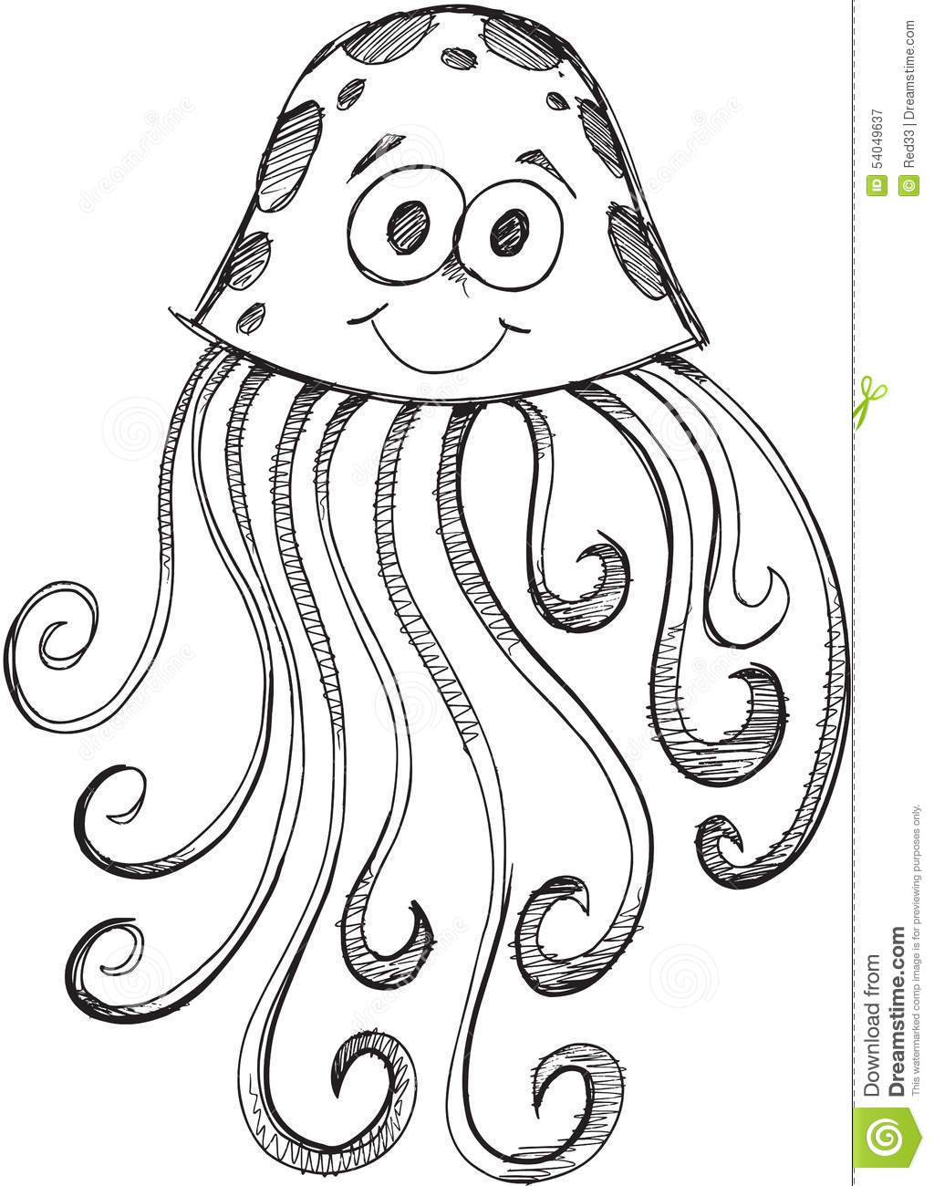 Doodle Jelly Fish Vector Stock Vector