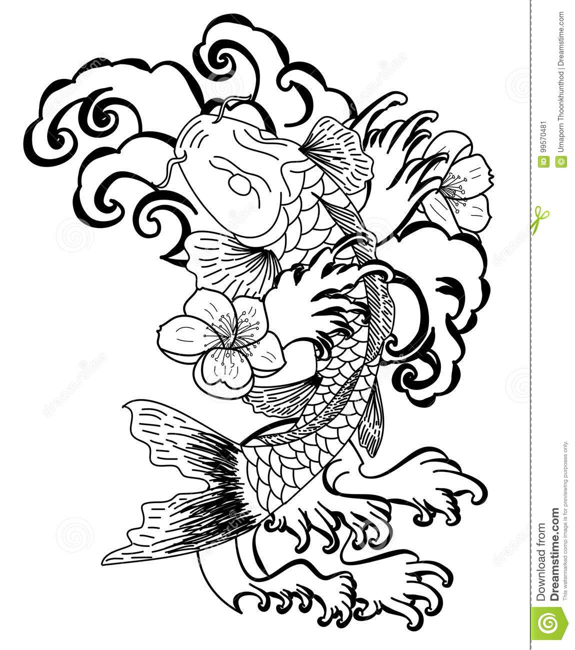 Koi Fish With Flower And Japanese Cloud Tattoo Design