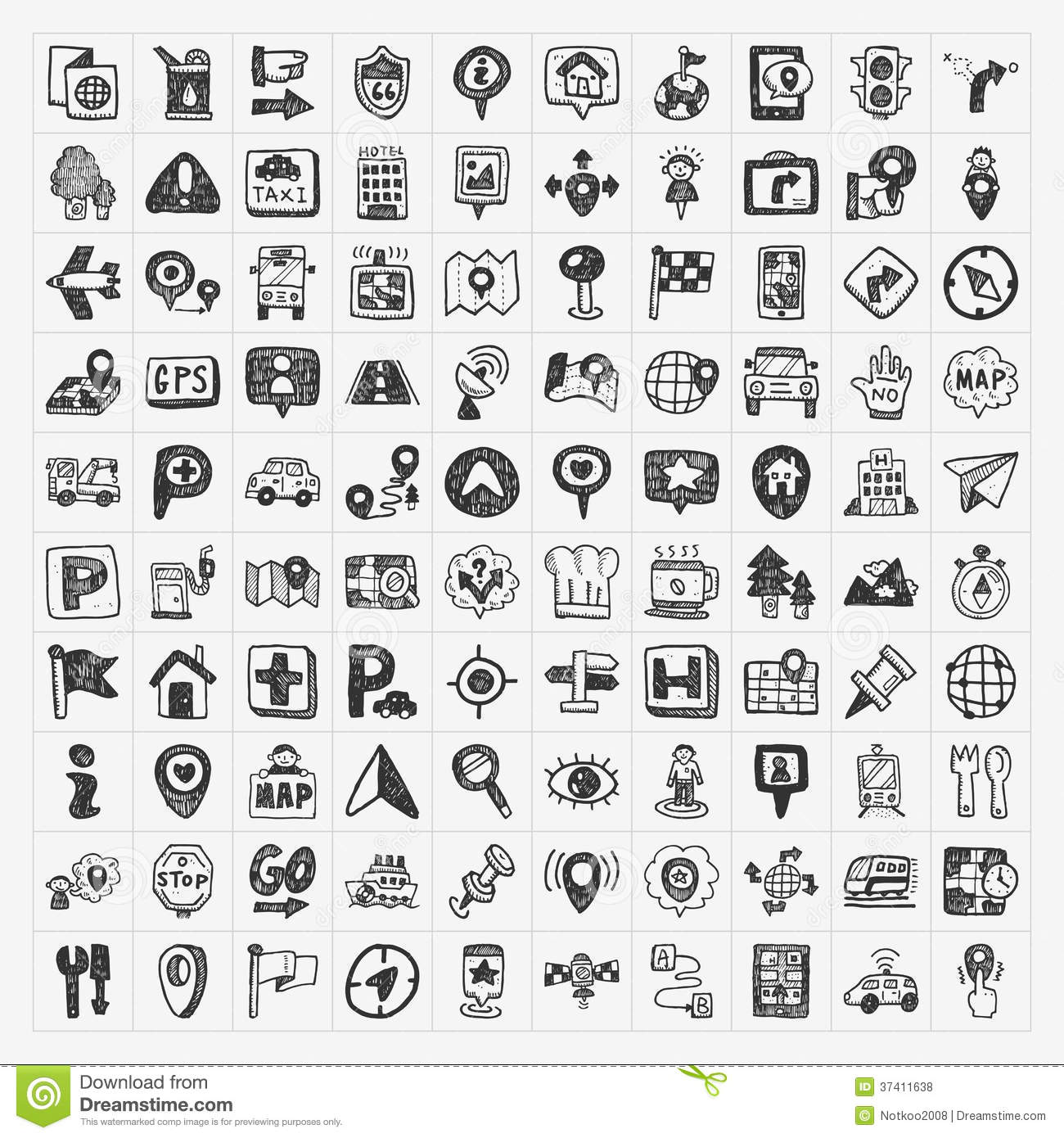 Doodle Map Gps Location Icons Set Royalty Free Stock