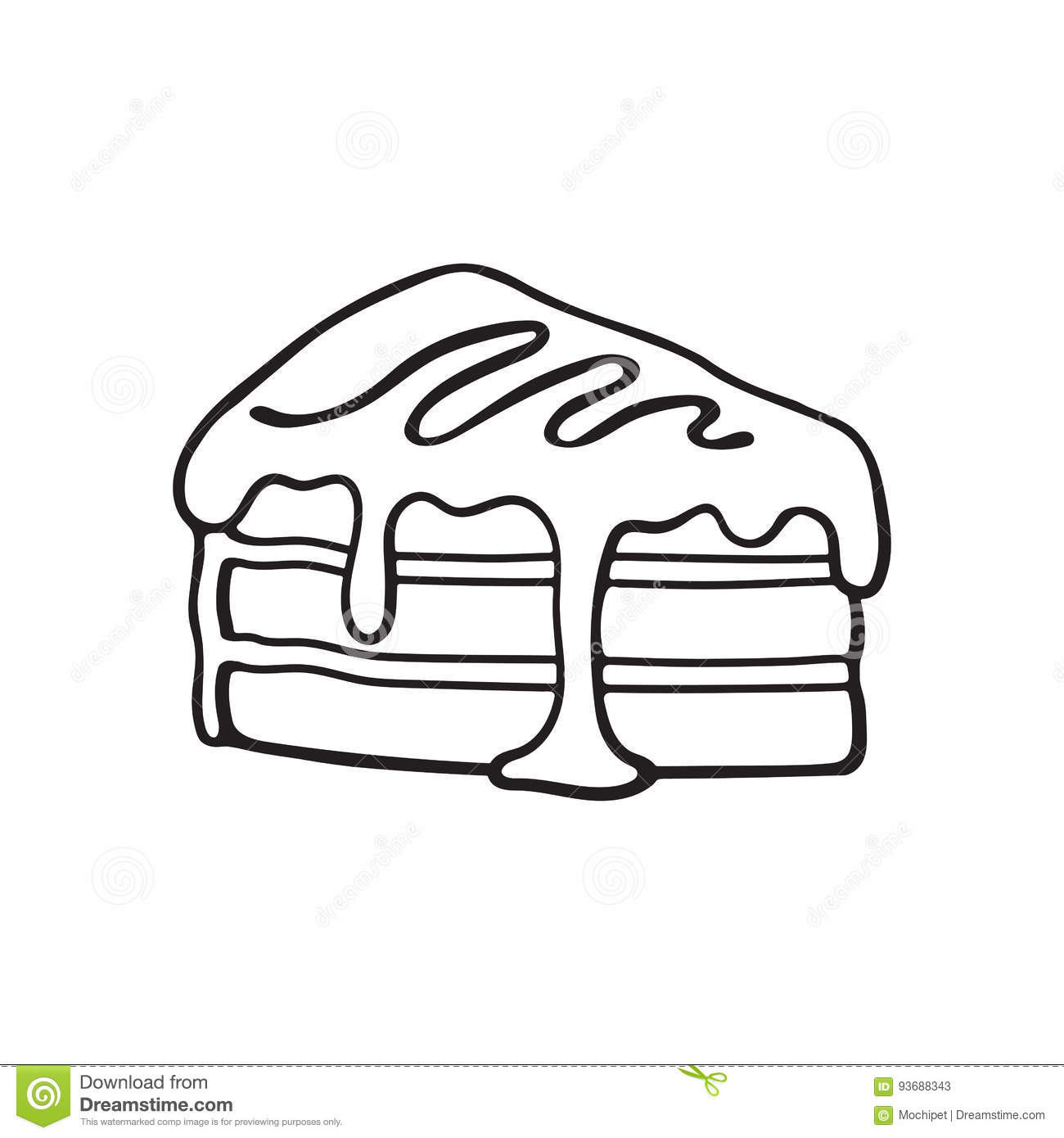 Doodle Of A Piece Of Cake With Cream And Syrup Stock