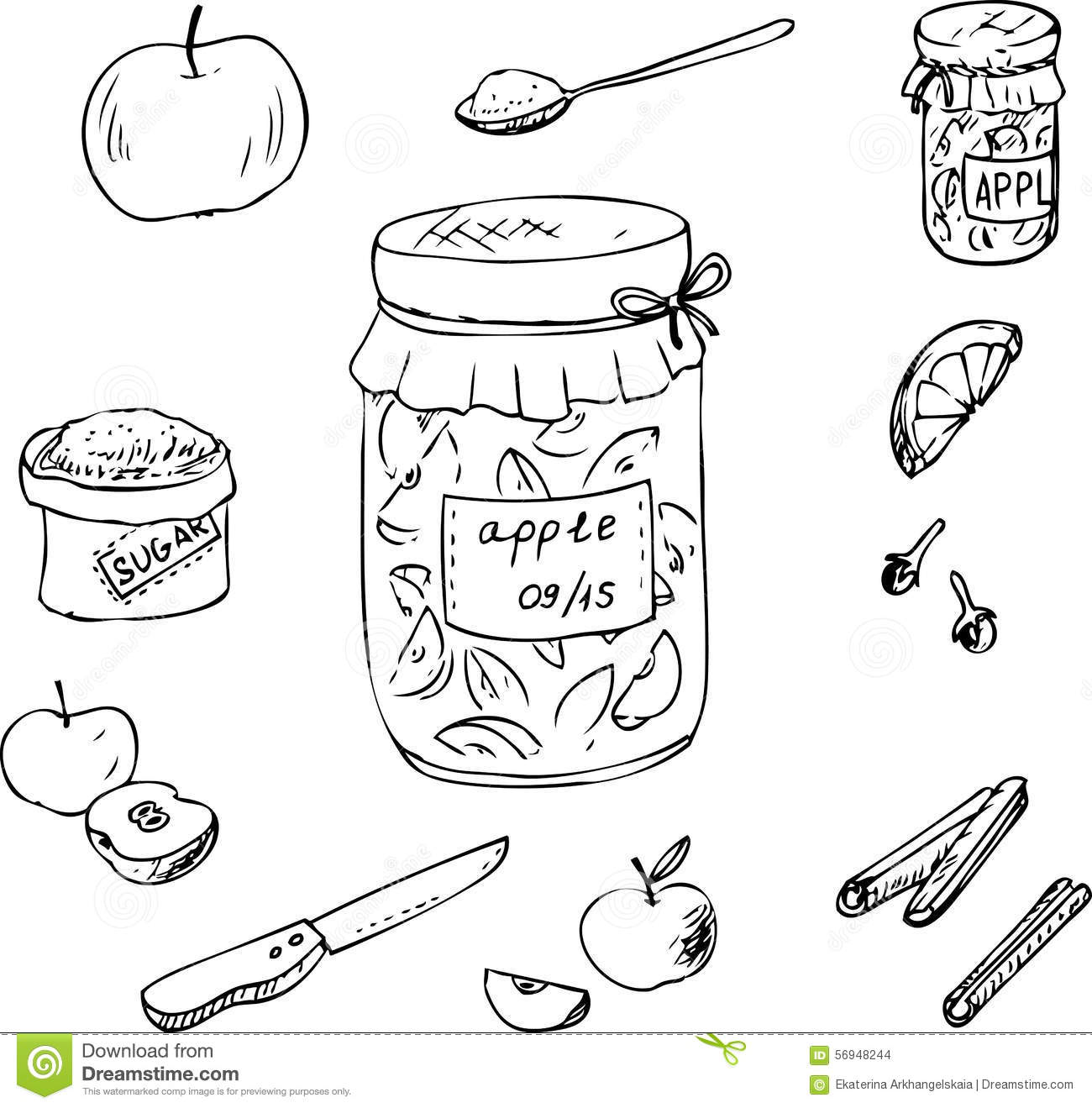 Doodle Set For Apple Jam Stock Vector Image Of Line