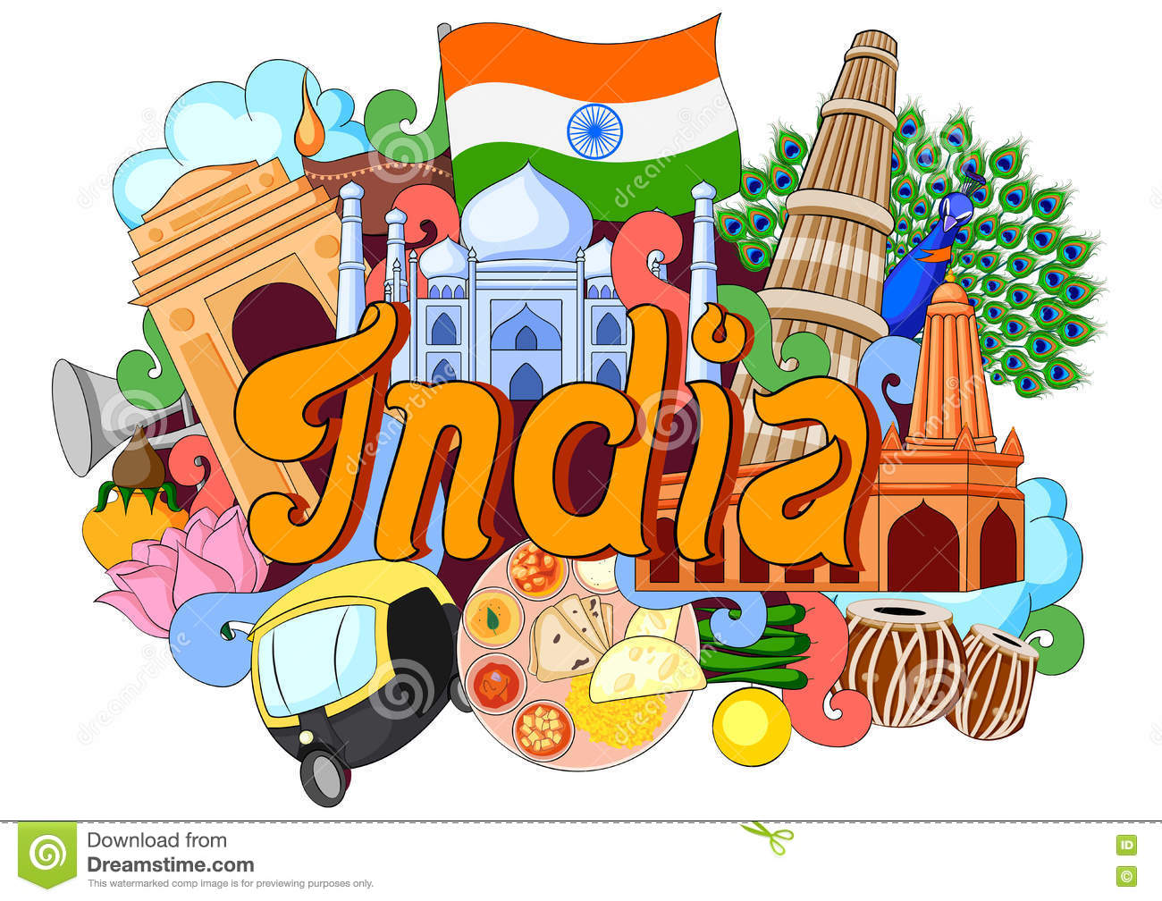 Doodle Showing Architecture And Culture Of India Stock