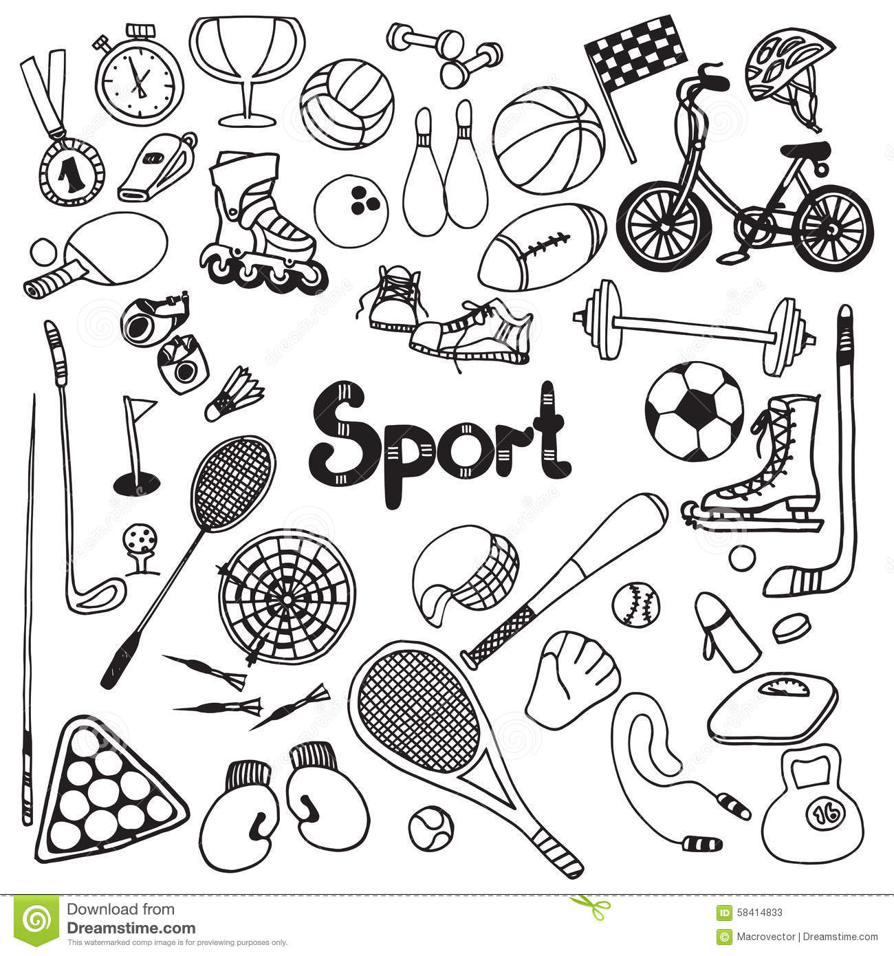 Doodle Sport Set Stock Vector Illustration Of Icons