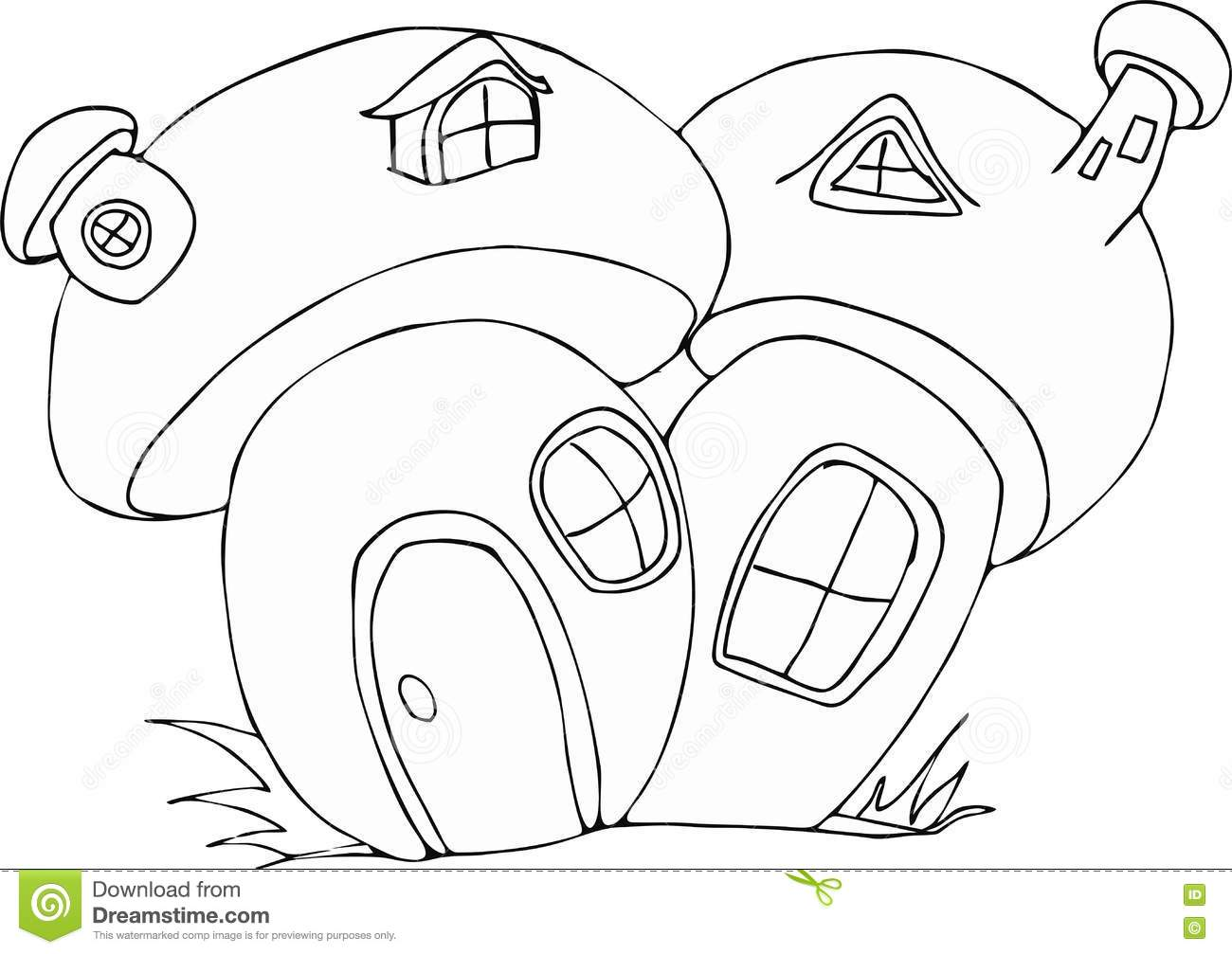 Doodle Style Fairy Mushroom House Cartoon Stock Vector