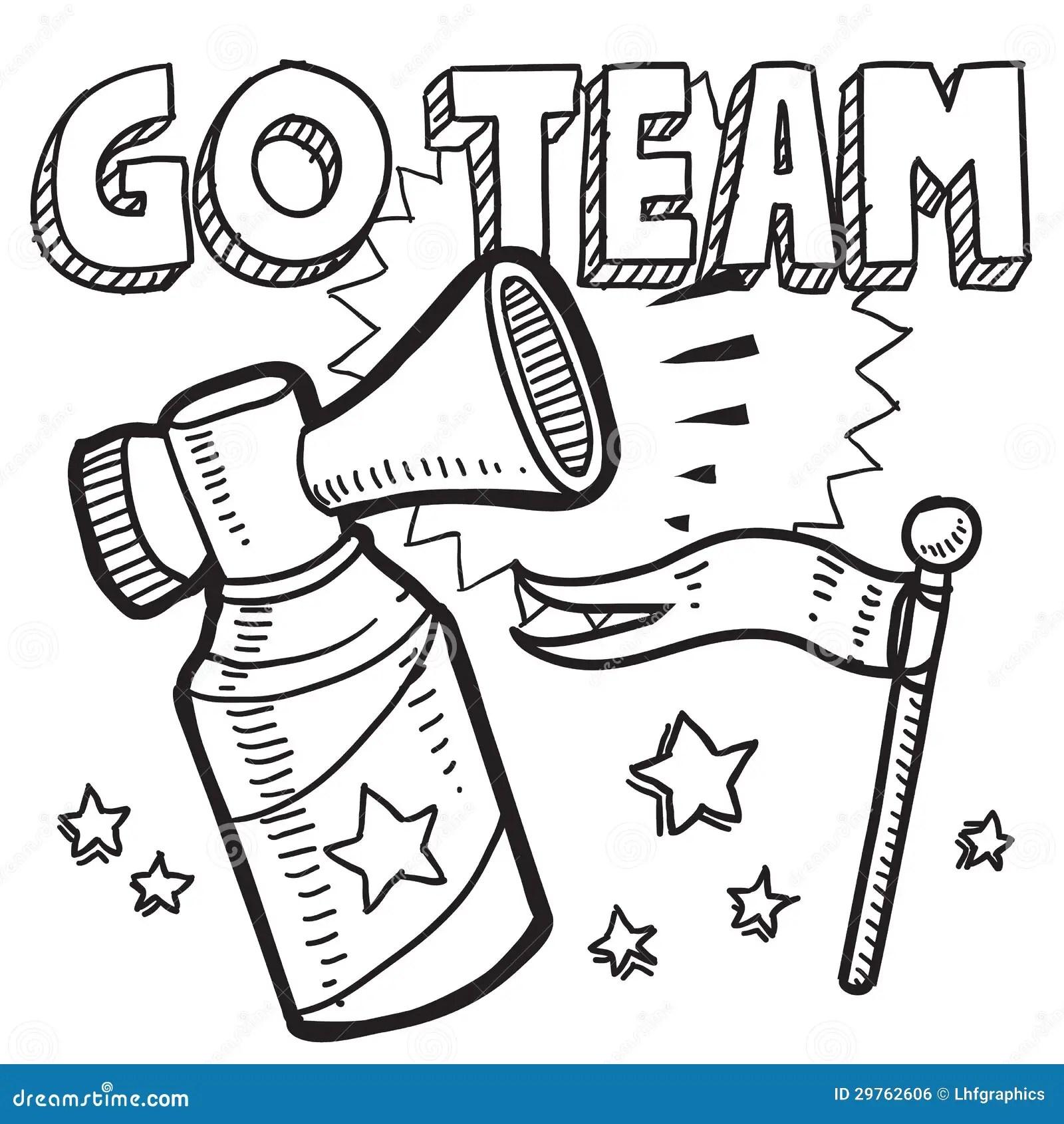 Go Team Sports Air Horn Sketch Stock Vector