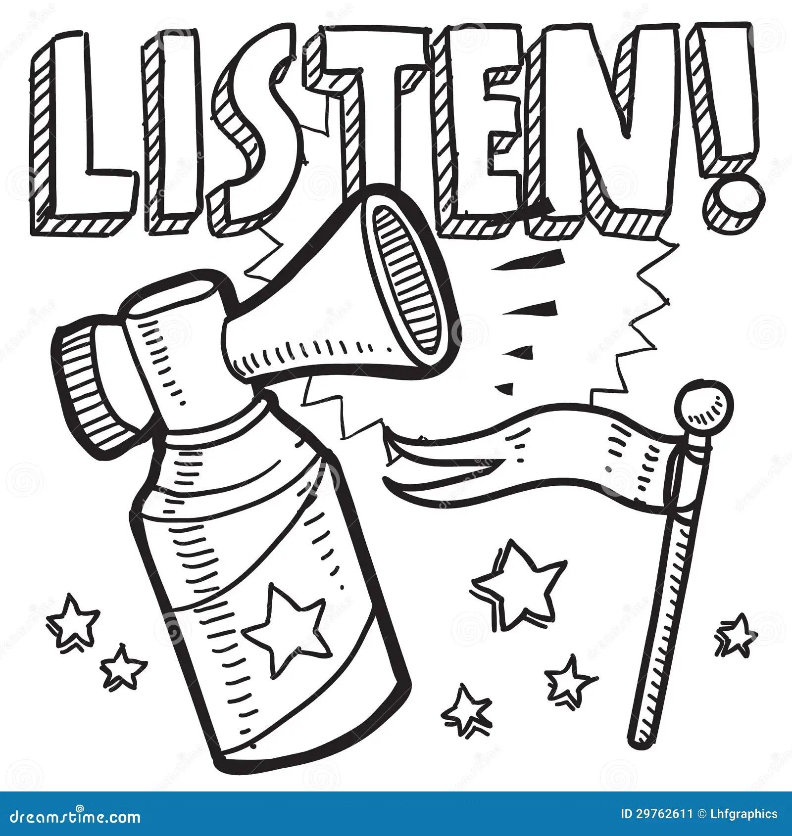 Listen Announcement Sketch Stock Image