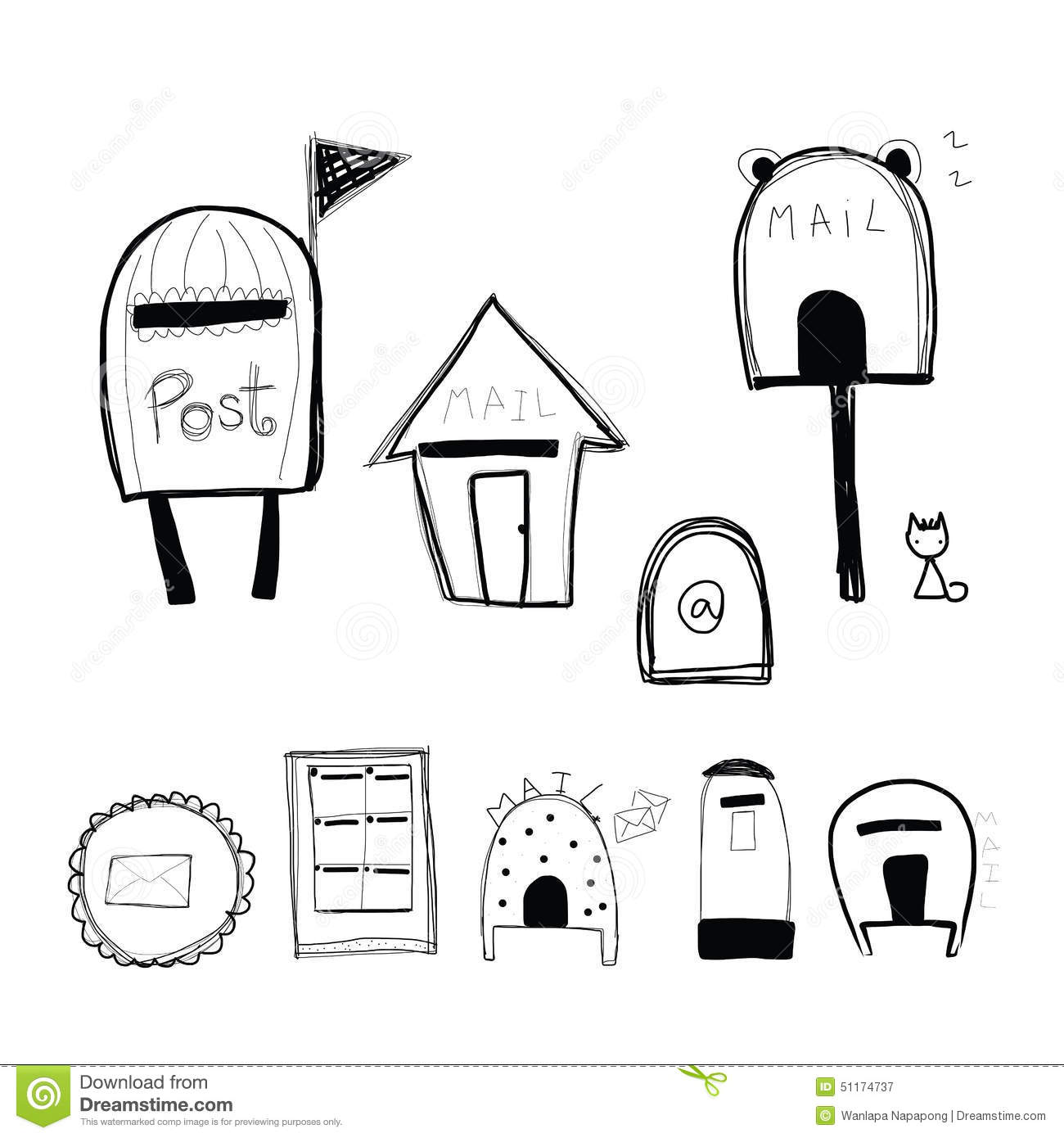 Doodle Style Mailbox And Post Box Stock Vector