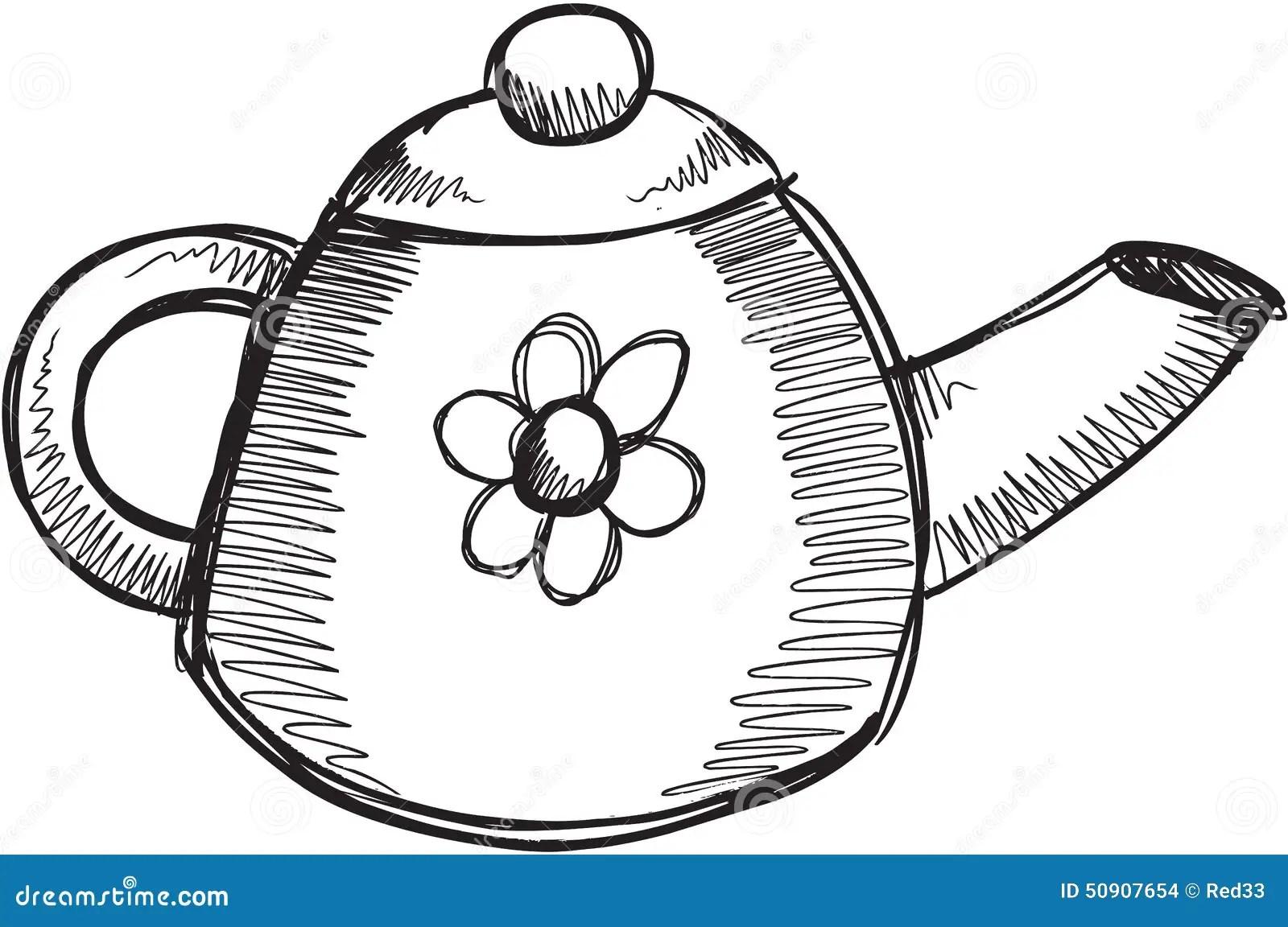 Doodle Tea Pot Vector Stock Vector Illustration Of Coffee
